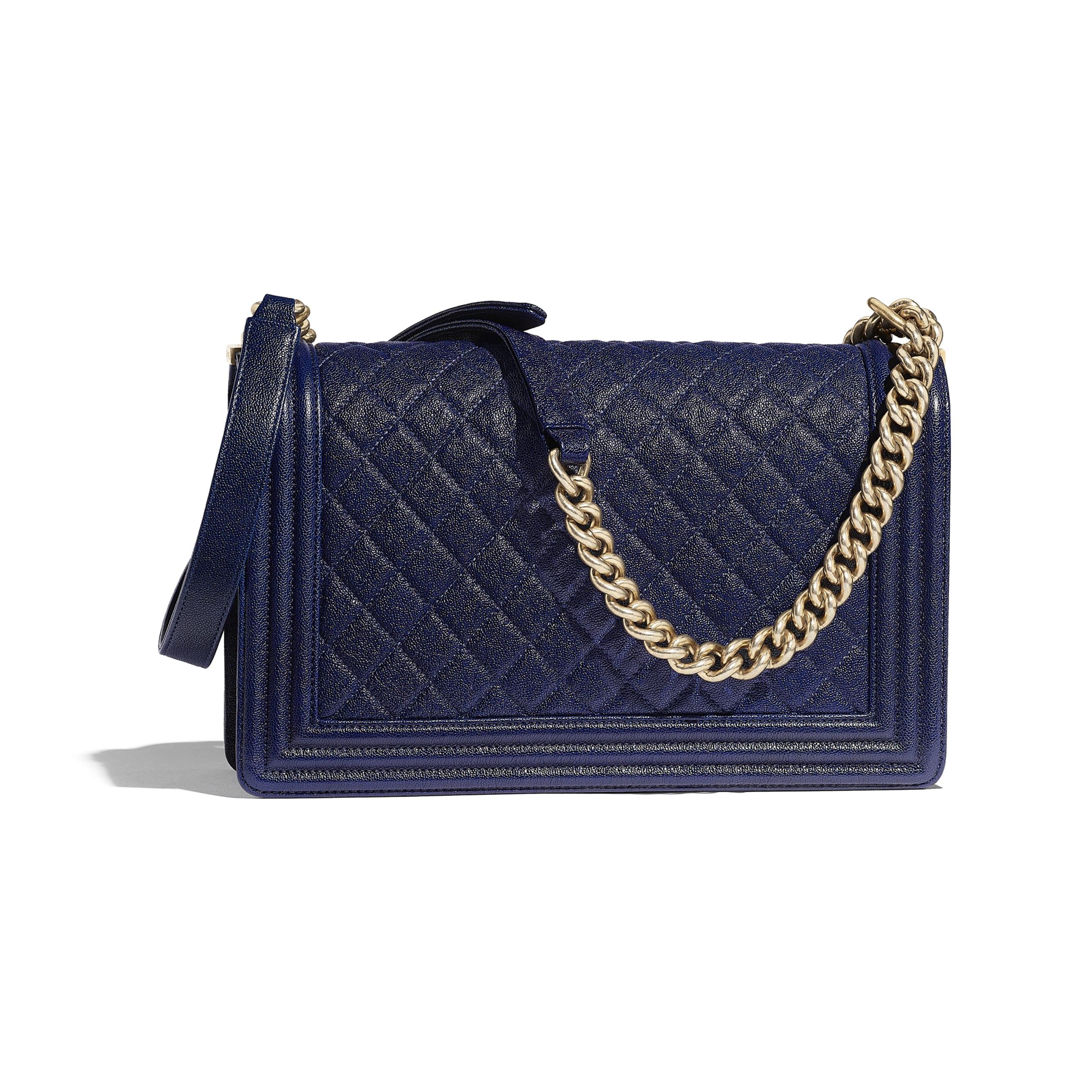 Large BOY CHANEL Handbag - Blue - Grained Calfskin & Gold-Tone Metal - Alternative view - see standard sized version