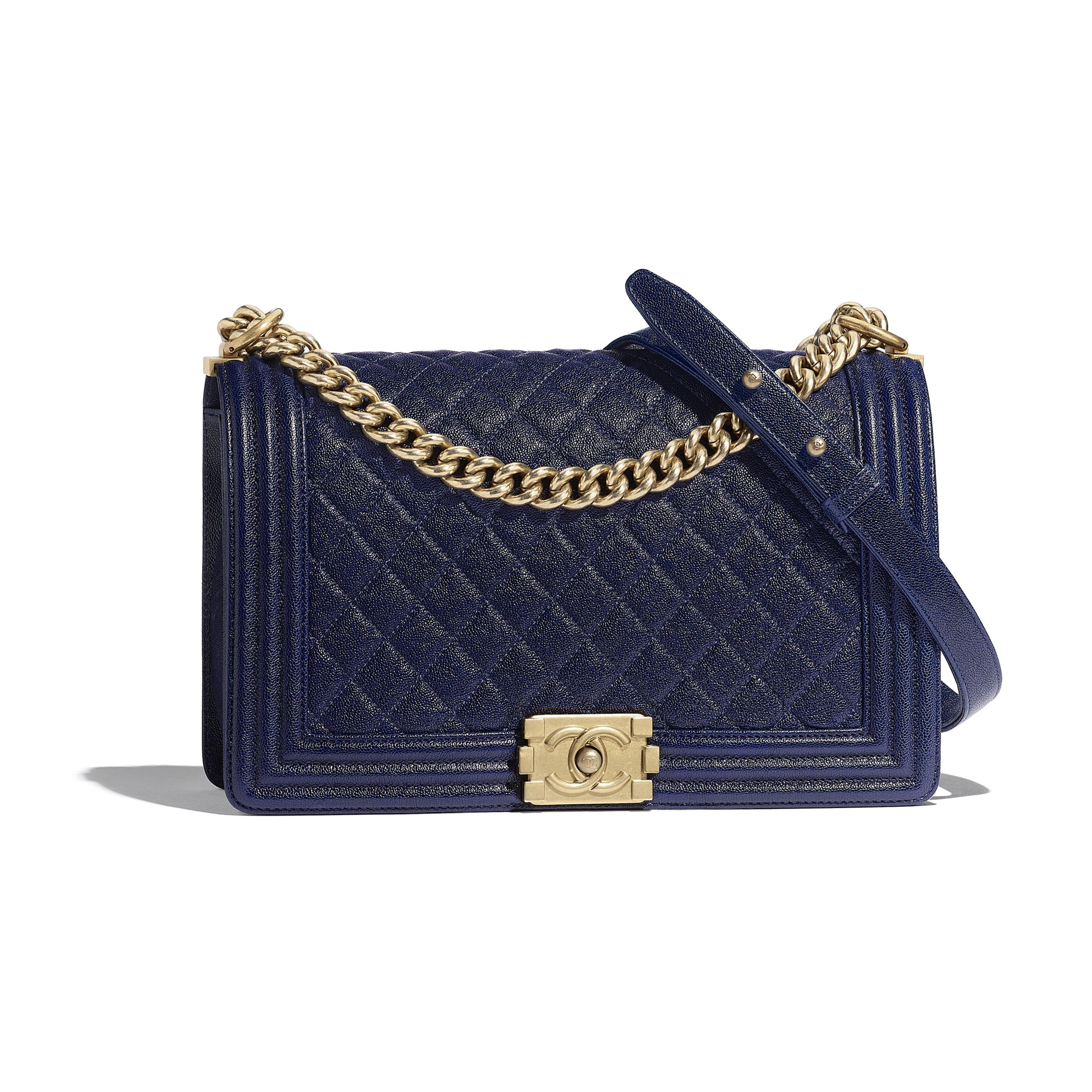 Large BOY CHANEL Handbag - Blue - Grained Calfskin & Gold-Tone Metal - Default view - see standard sized version