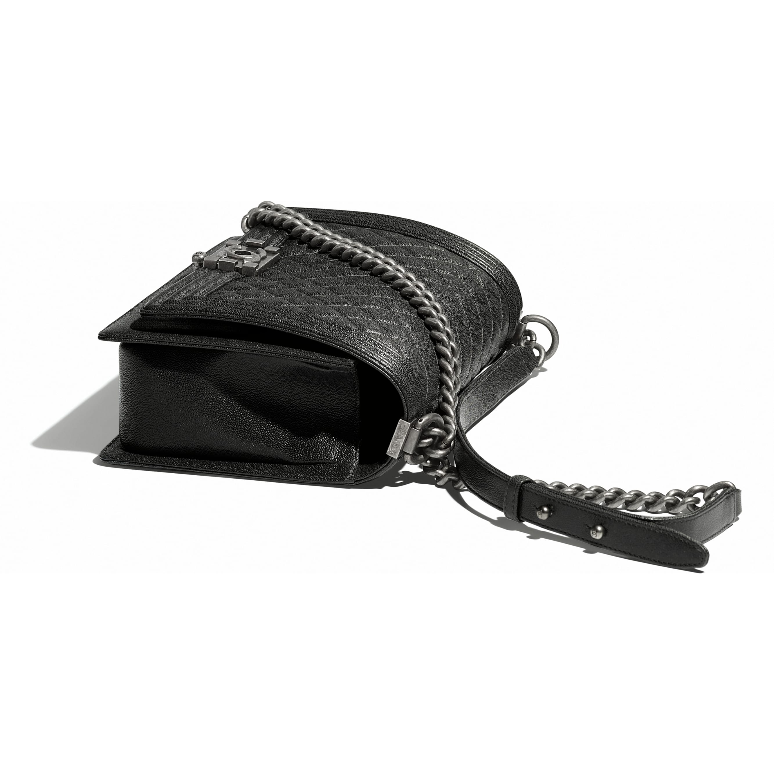 Large BOY CHANEL Handbag - Charcoal - Grained Calfskin & Ruthenium-Finish Metal - Other view - see standard sized version