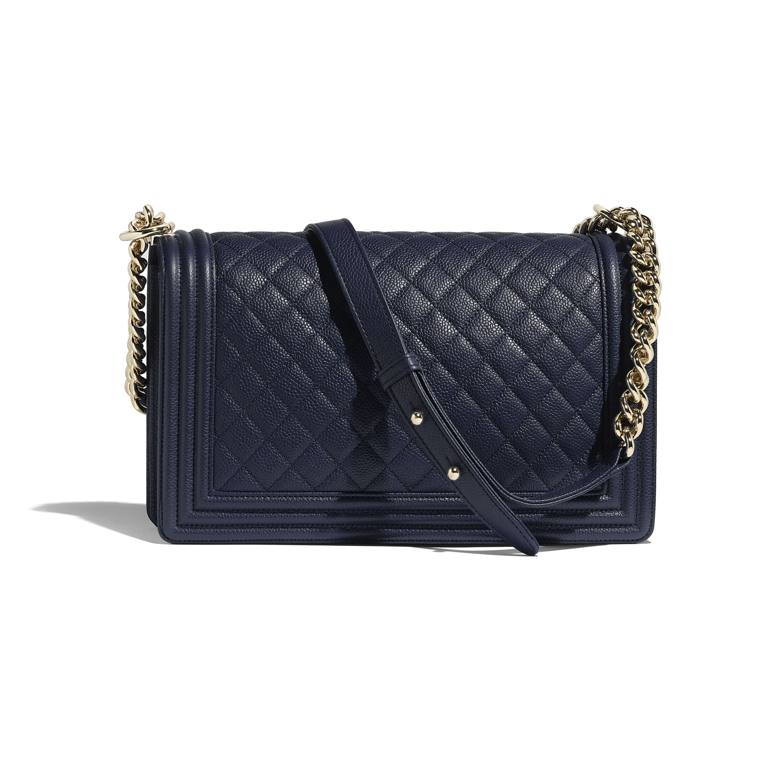 Large BOY CHANEL Handbag - Navy Blue - Grained Calfskin & Gold-Tone Metal - Alternative view - see standard sized version