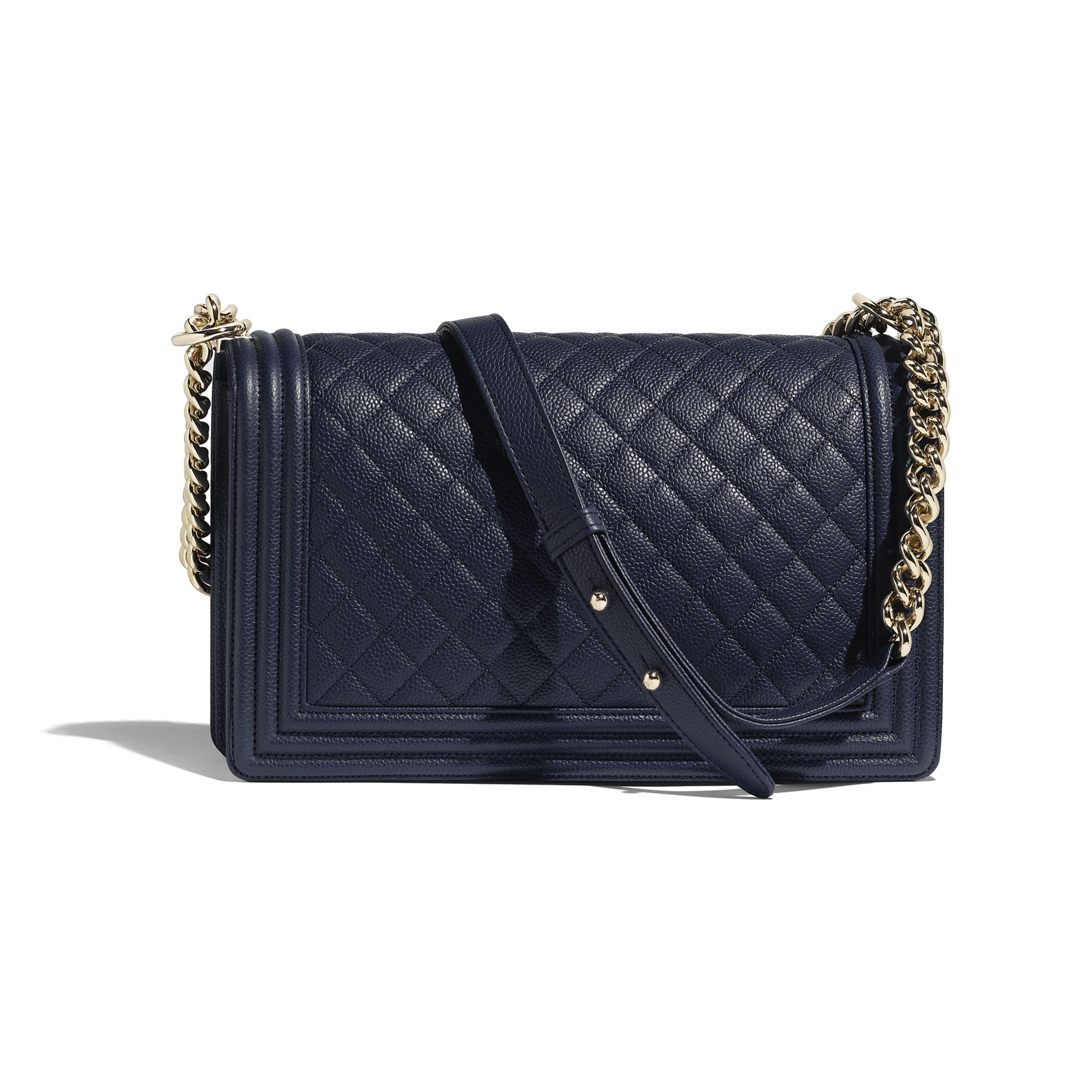 Large BOY CHANEL Handbag - Navy Blue - Grained Calfskin & Gold-Tone Metal - CHANEL - Alternative view - see standard sized version