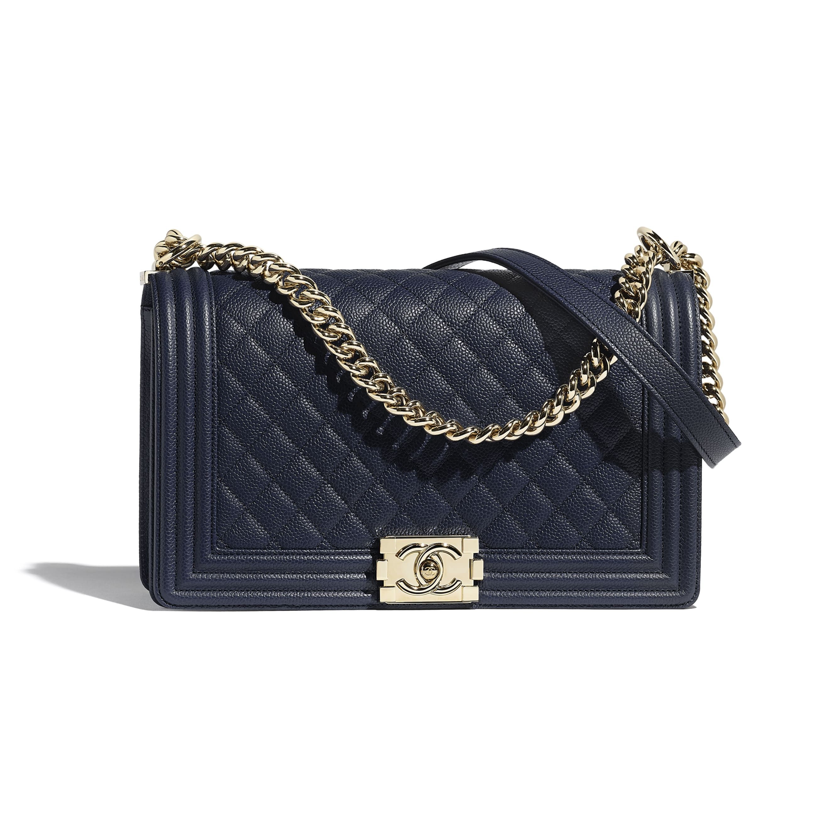 Large BOY CHANEL Handbag - Navy Blue - Grained Calfskin & Gold-Tone Metal - Default view - see standard sized version