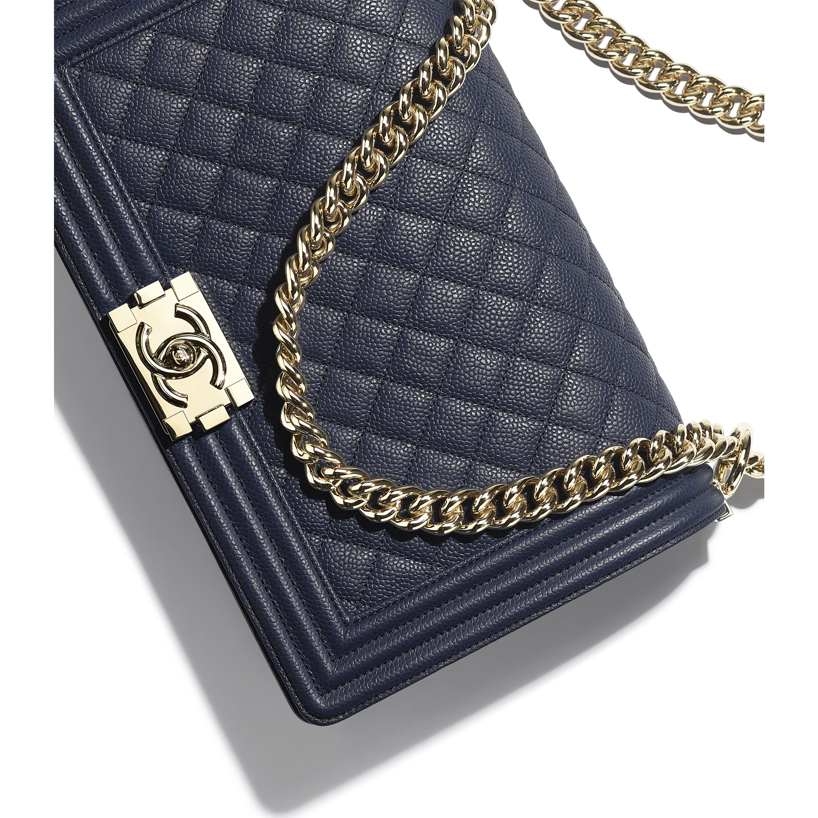 Large BOY CHANEL Handbag - Navy Blue - Grained Calfskin & Gold-Tone Metal - Extra view - see standard sized version