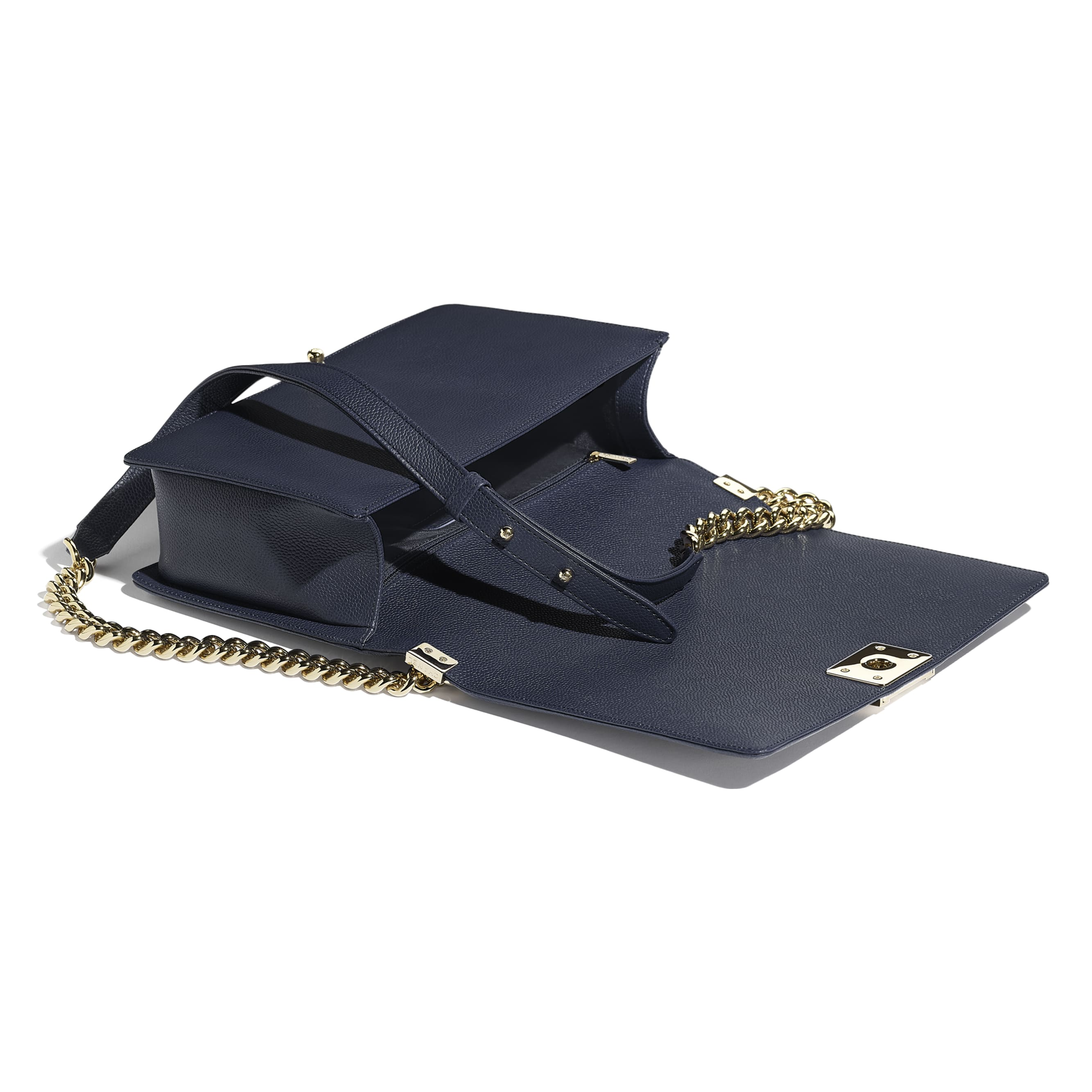 Large BOY CHANEL Handbag - Navy Blue - Grained Calfskin & Gold-Tone Metal - Other view - see standard sized version