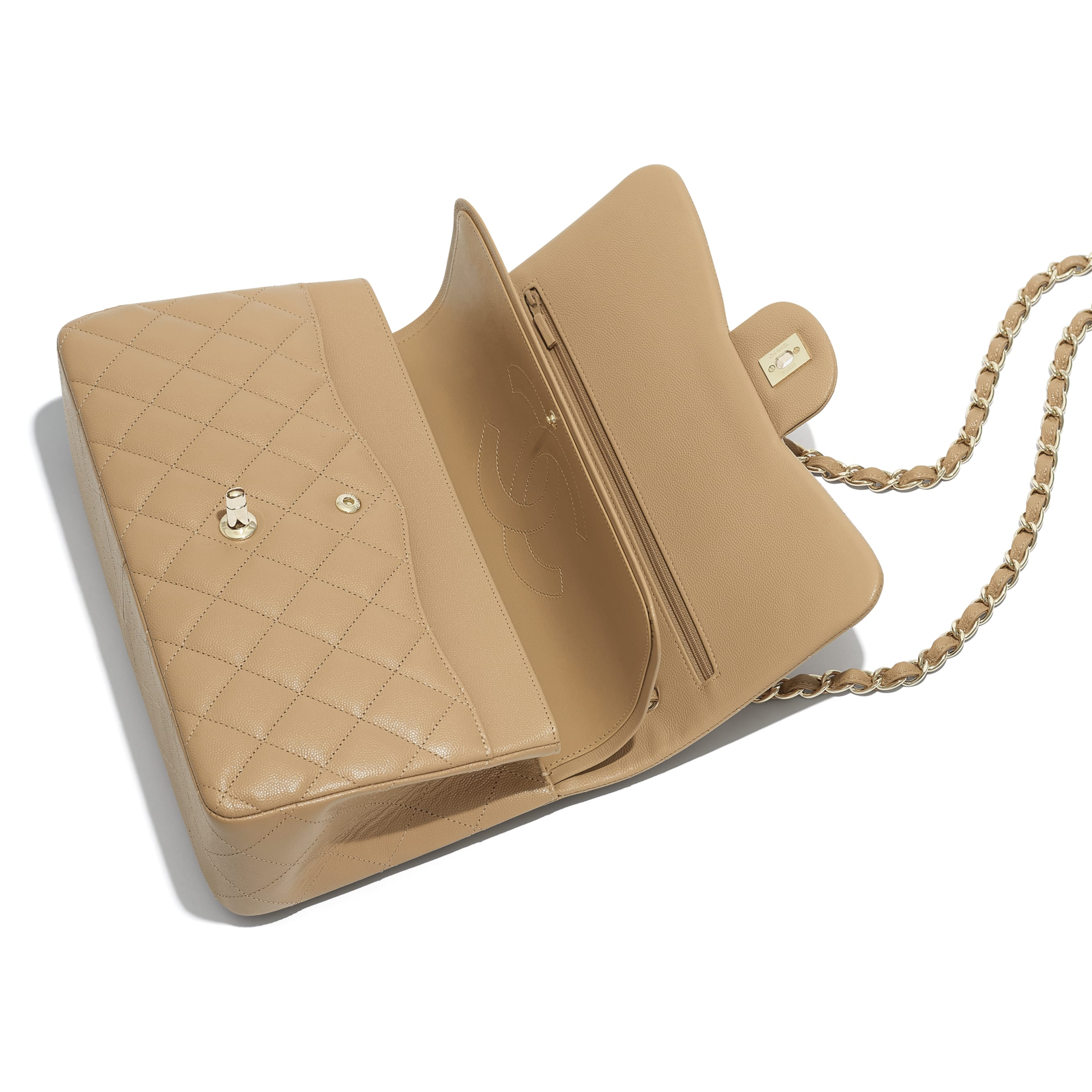 Large Classic Handbag - Beige - Grained Calfskin & Gold-Tone Metal - Other view - see standard sized version