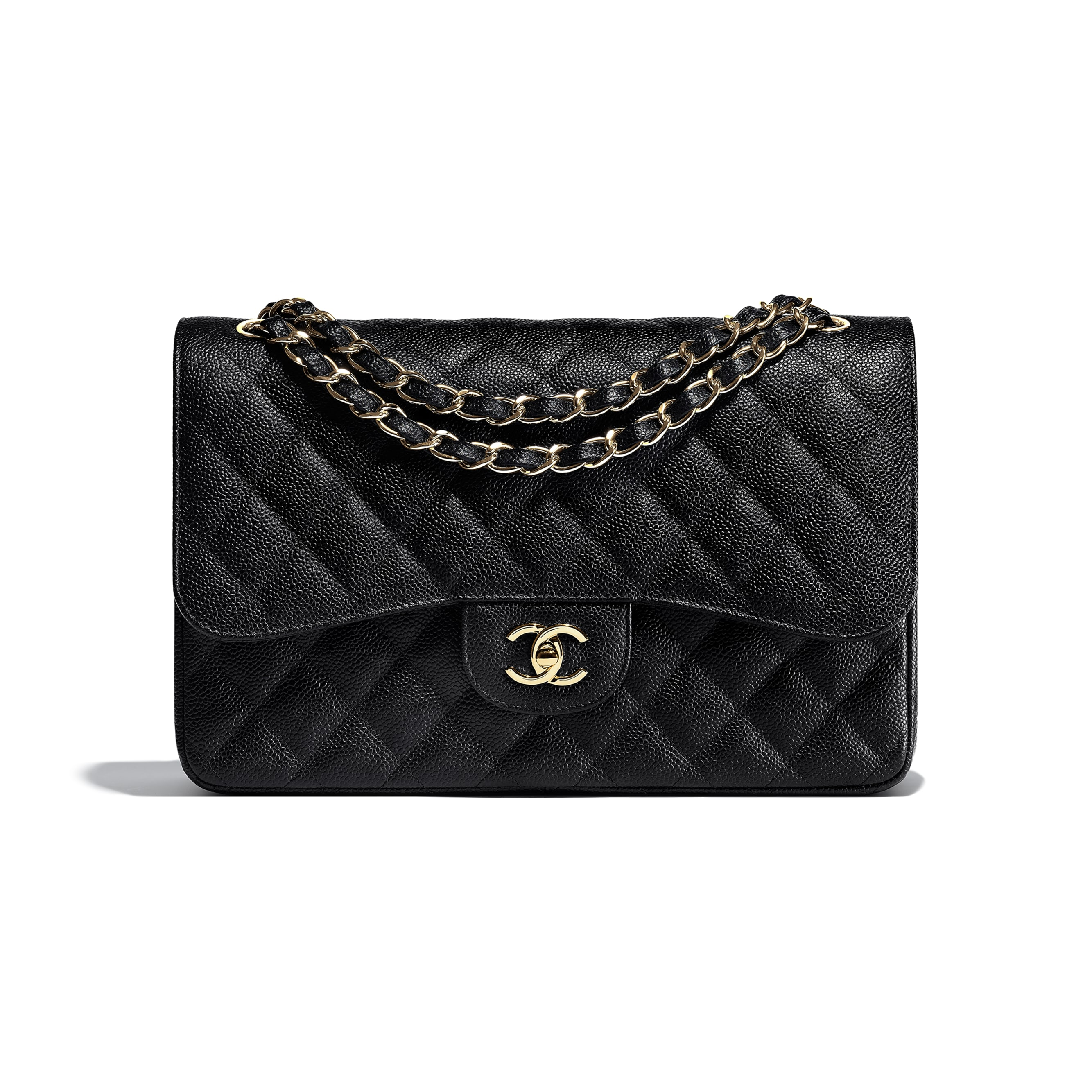 Large Classic Handbag - Black - Grained Calfskin & Gold-Tone Metal - Default view - see standard sized version