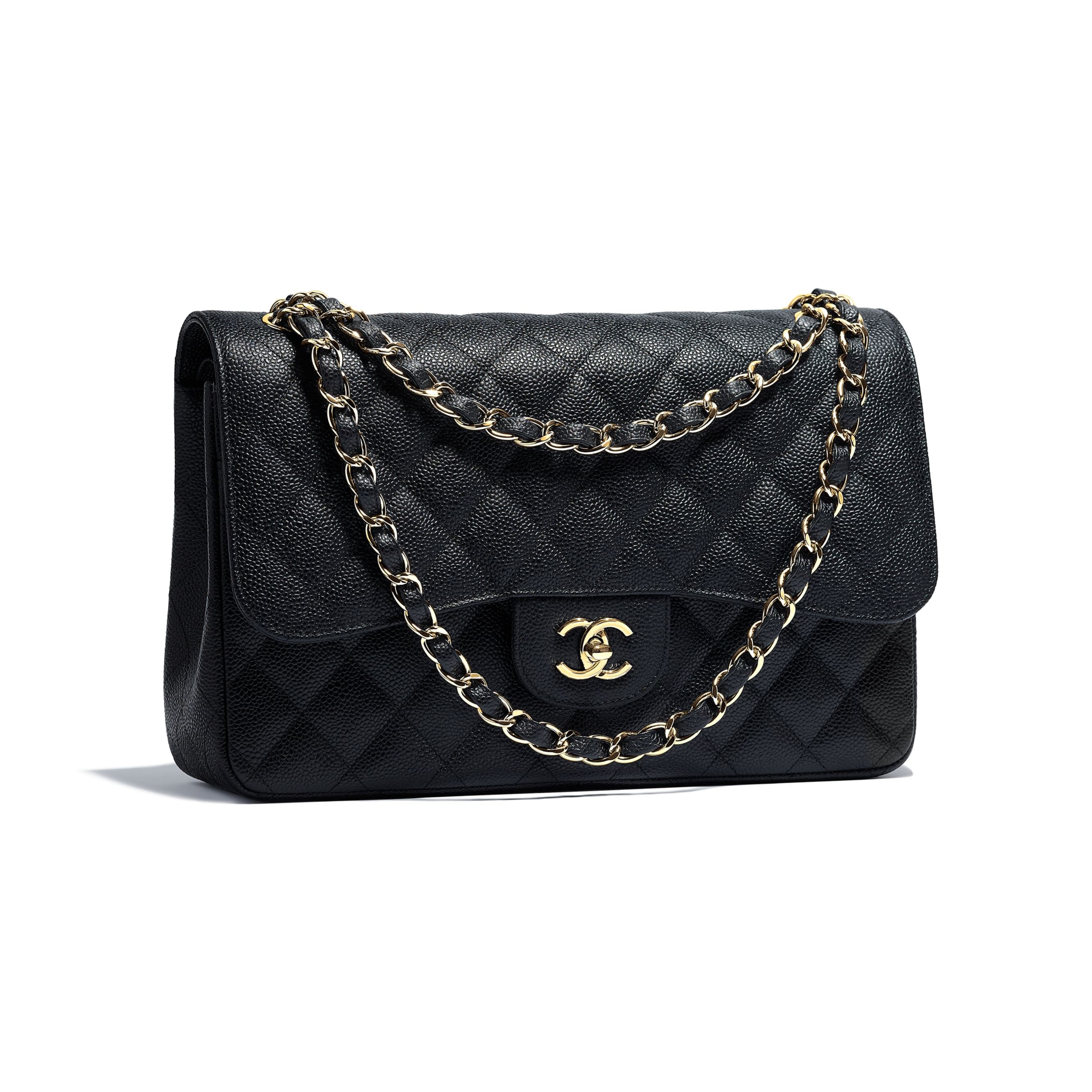 Large Classic Handbag - Black - Grained Calfskin & Gold-Tone Metal - Other view - see standard sized version