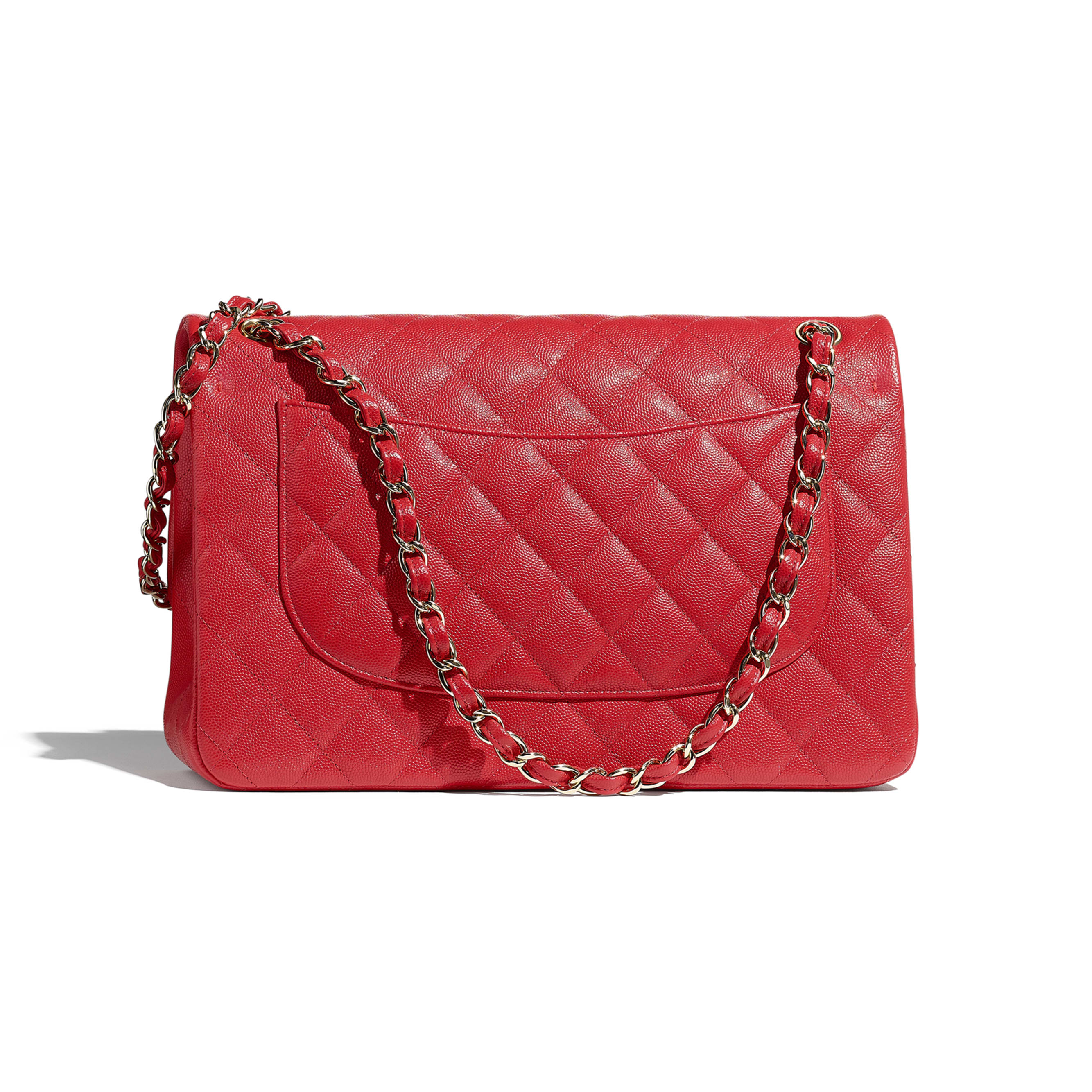 Large Classic Handbag - Red - Grained Calfskin & Gold-Tone Metal - CHANEL - Alternative view - see standard sized version