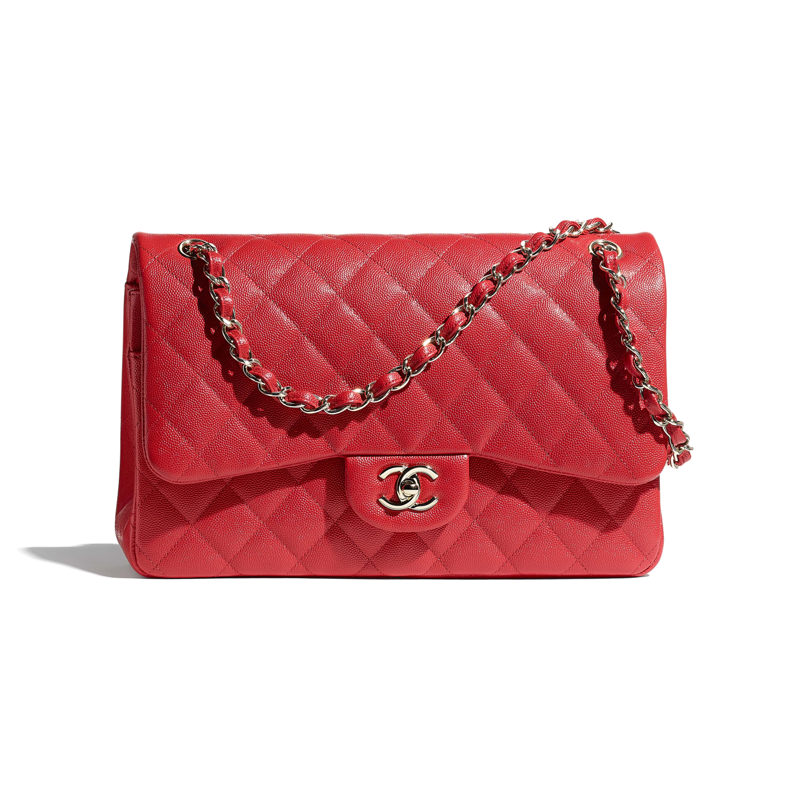 Large Classic Handbag - Red - Grained Calfskin & Gold-Tone Metal - CHANEL - Default view - see standard sized version