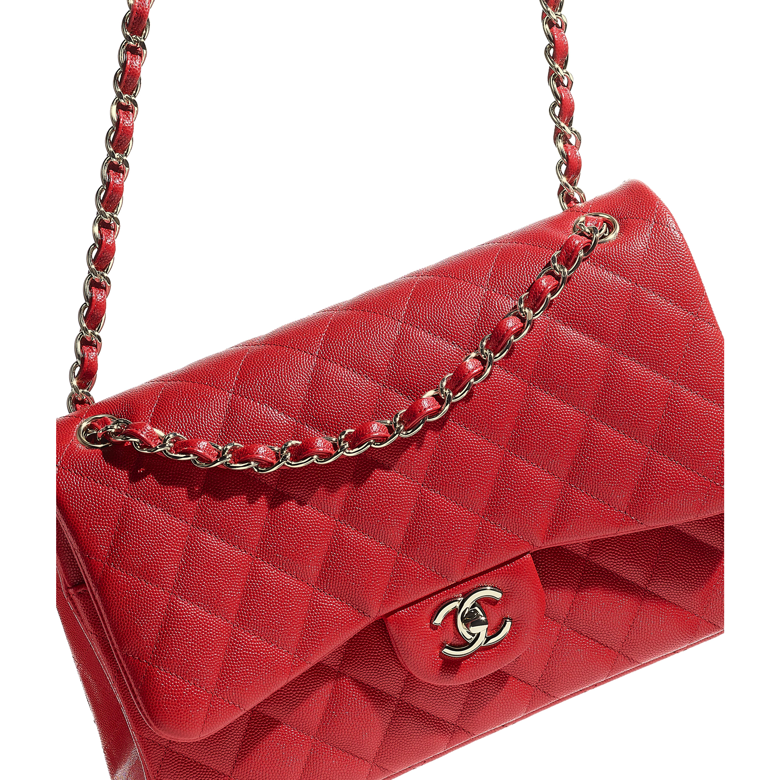 Large Classic Handbag - Red - Grained Calfskin & Gold-Tone Metal - CHANEL - Extra view - see standard sized version
