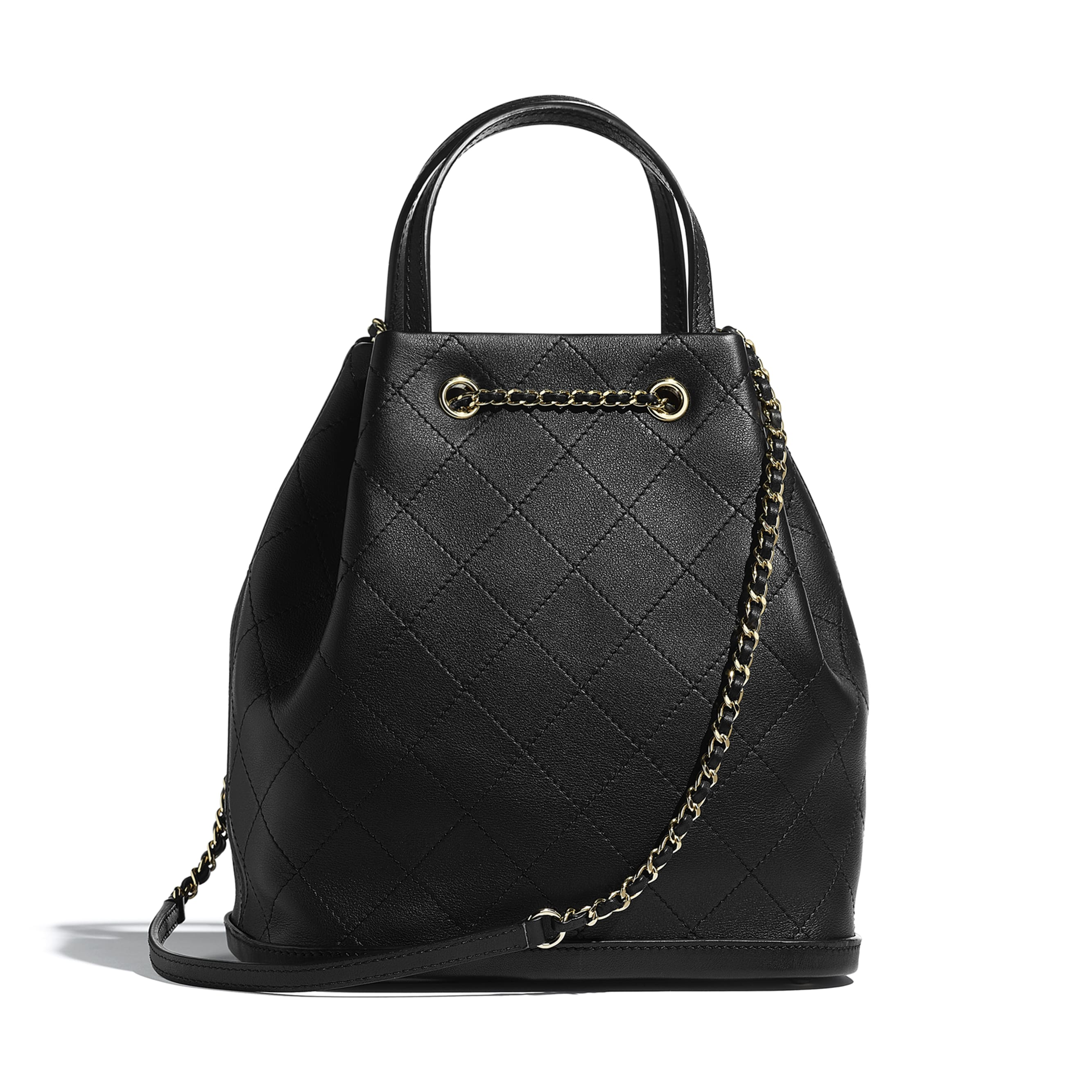 Large Drawstring Bag - Black - Calfskin & Gold-Tone Metal - Alternative view - see standard sized version
