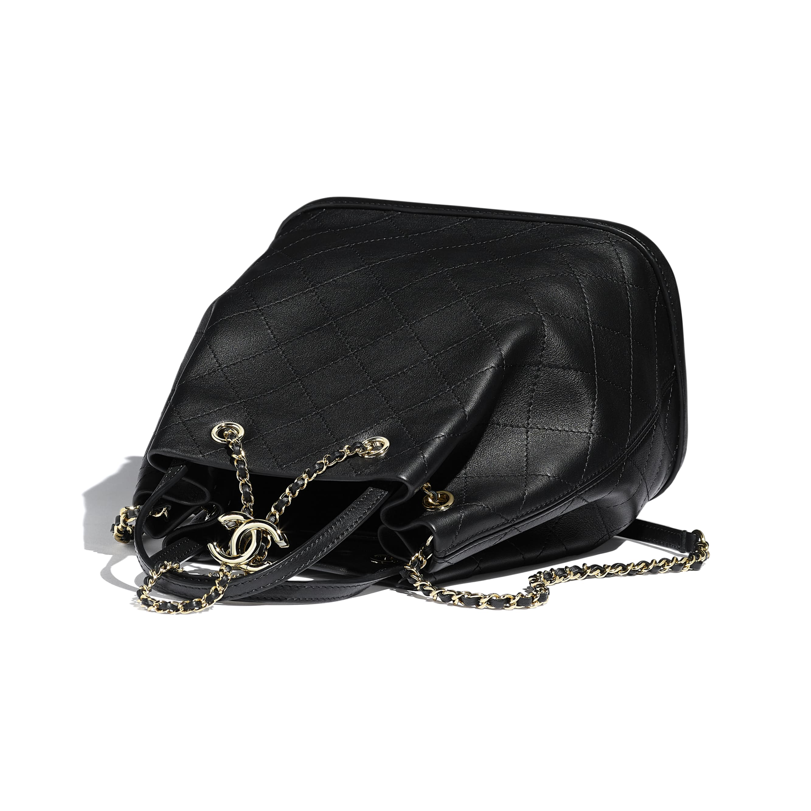 Large Drawstring Bag - Black - Calfskin & Gold-Tone Metal - Other view - see standard sized version