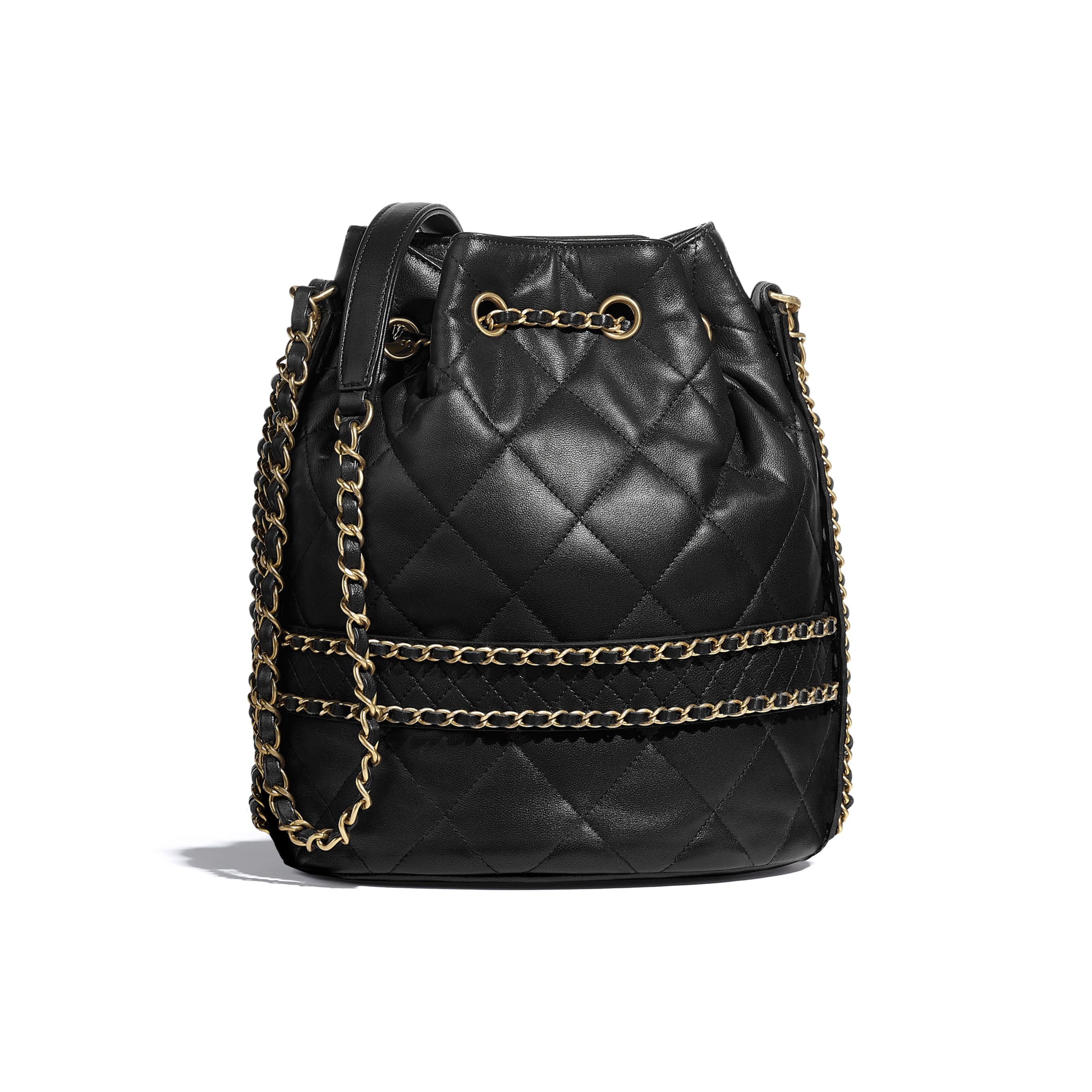 Large Drawstring Bag - Black - Lambskin - CHANEL - Alternative view - see standard sized version