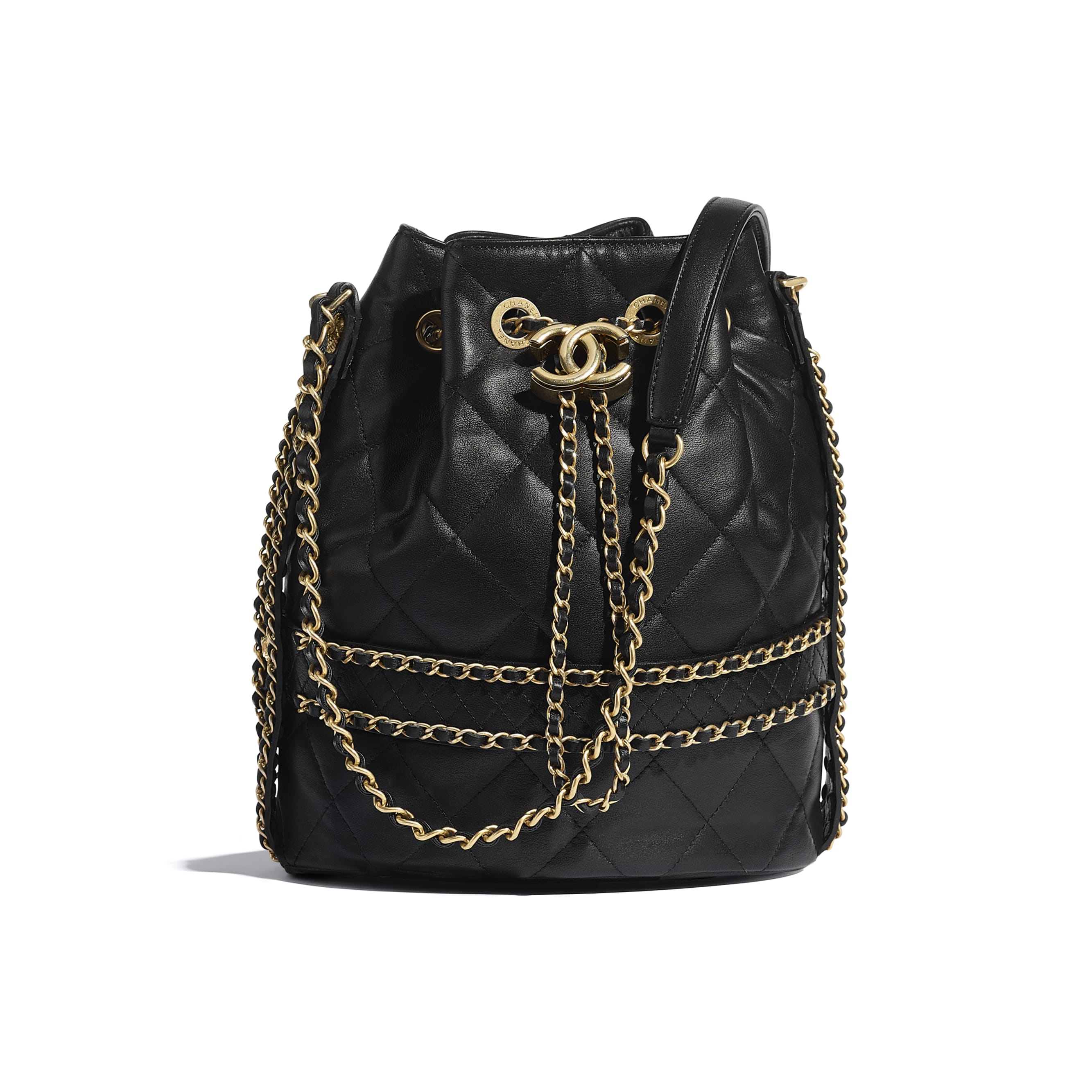Large Drawstring Bag - Black - Lambskin - CHANEL - Default view - see standard sized version