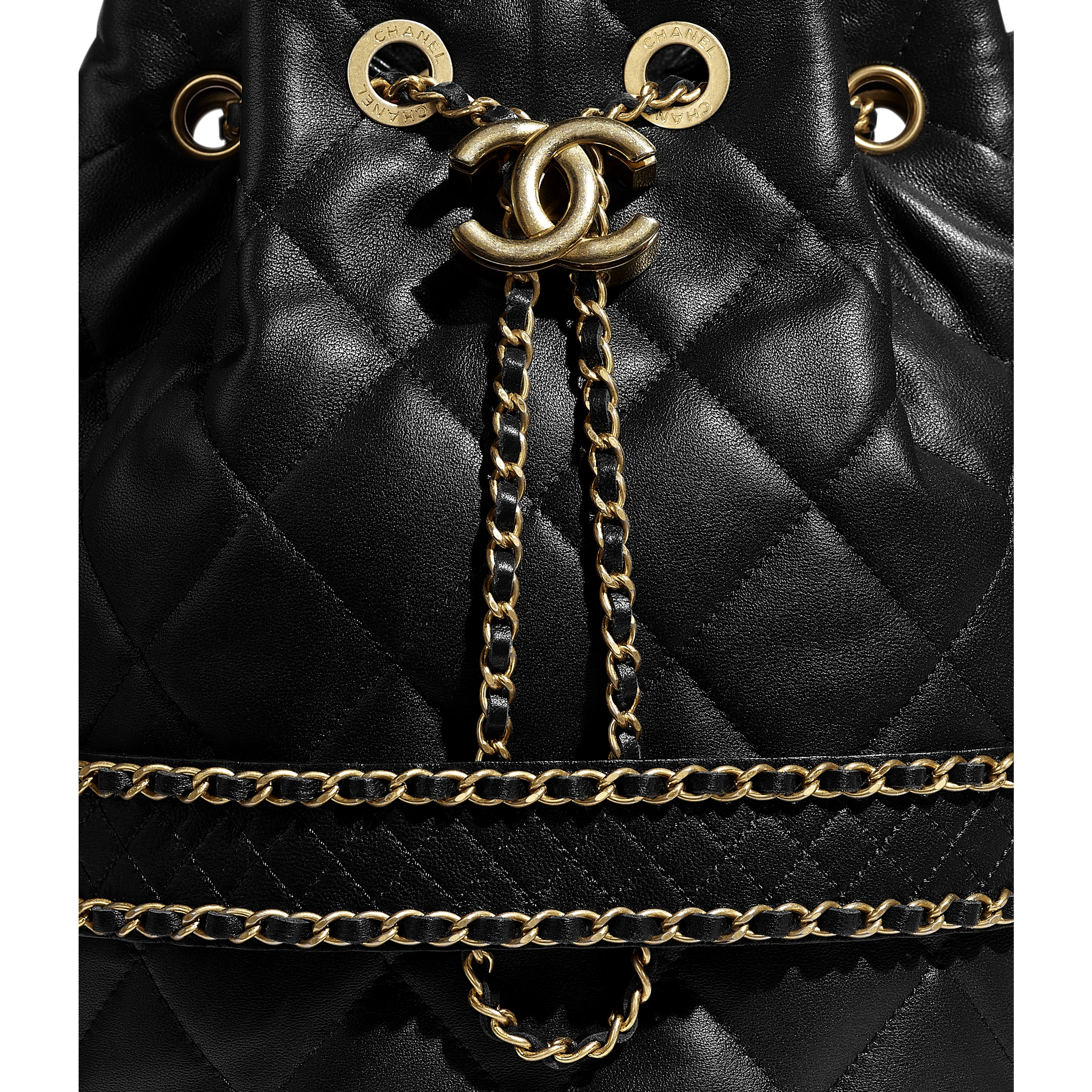 Large Drawstring Bag - Black - Lambskin - CHANEL - Extra view - see standard sized version