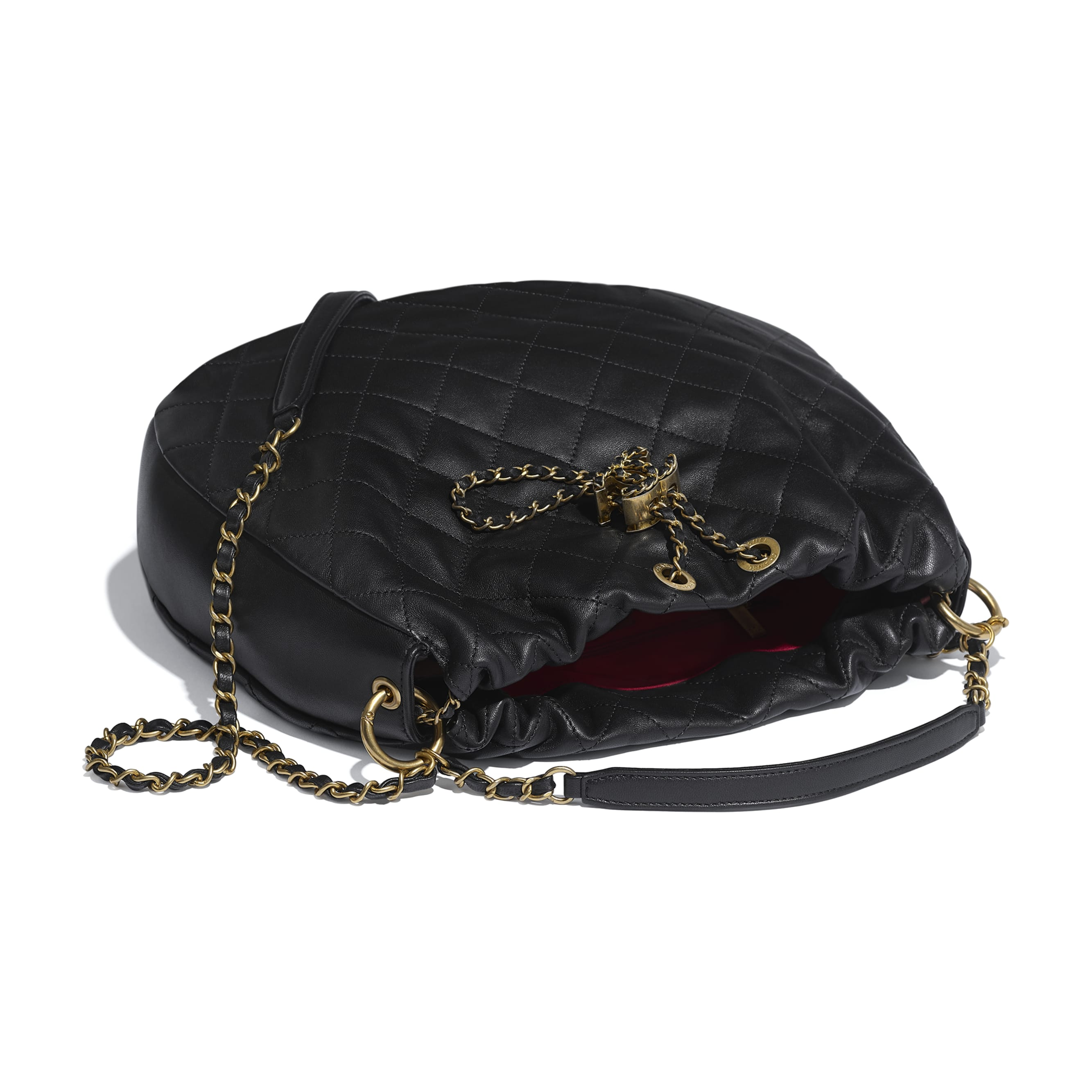 Large Drawstring Bag - Black - Lambskin - Other view - see standard sized version