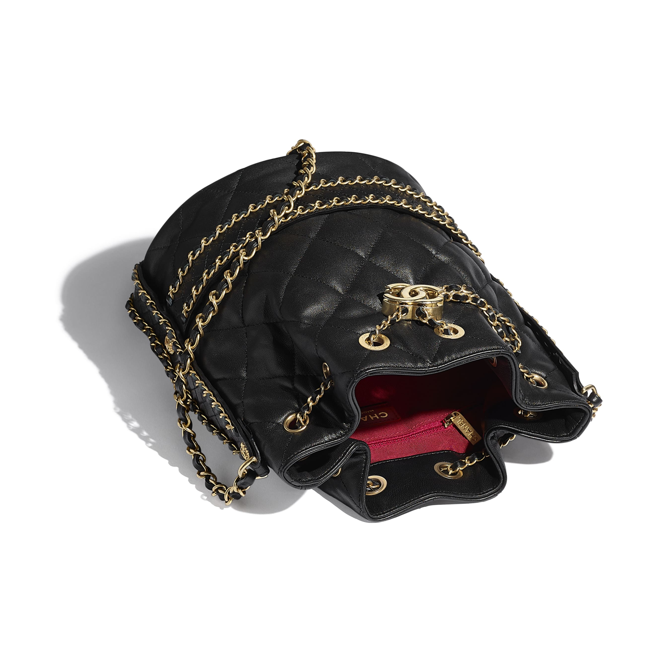 Large Drawstring Bag - Black - Lambskin - CHANEL - Other view - see standard sized version