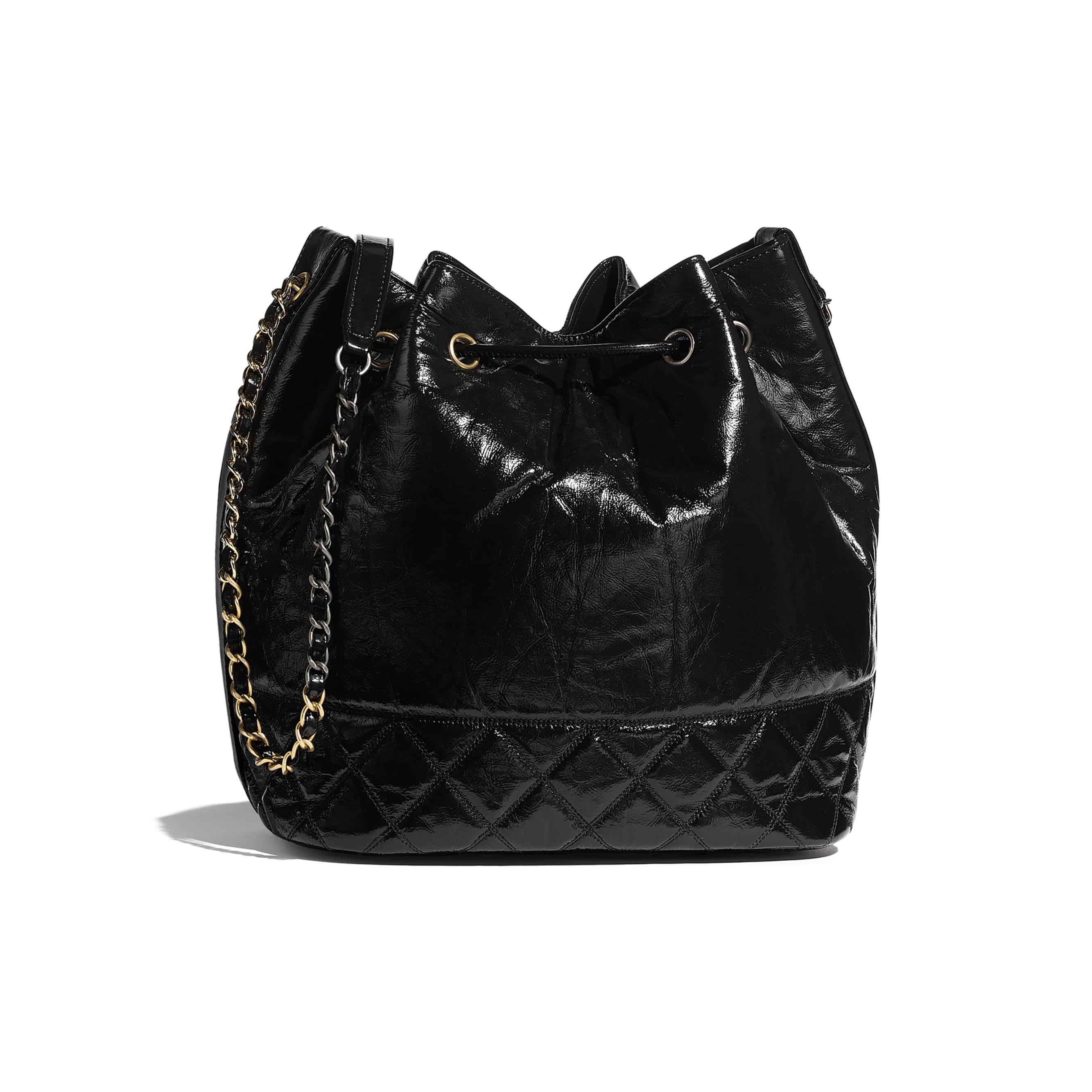 Large Drawstring Bag - Black - Shiny Aged Calfskin, Gold-Tone, Silver-Tone & Ruthenium-Finish Metal - CHANEL - Alternative view - see standard sized version