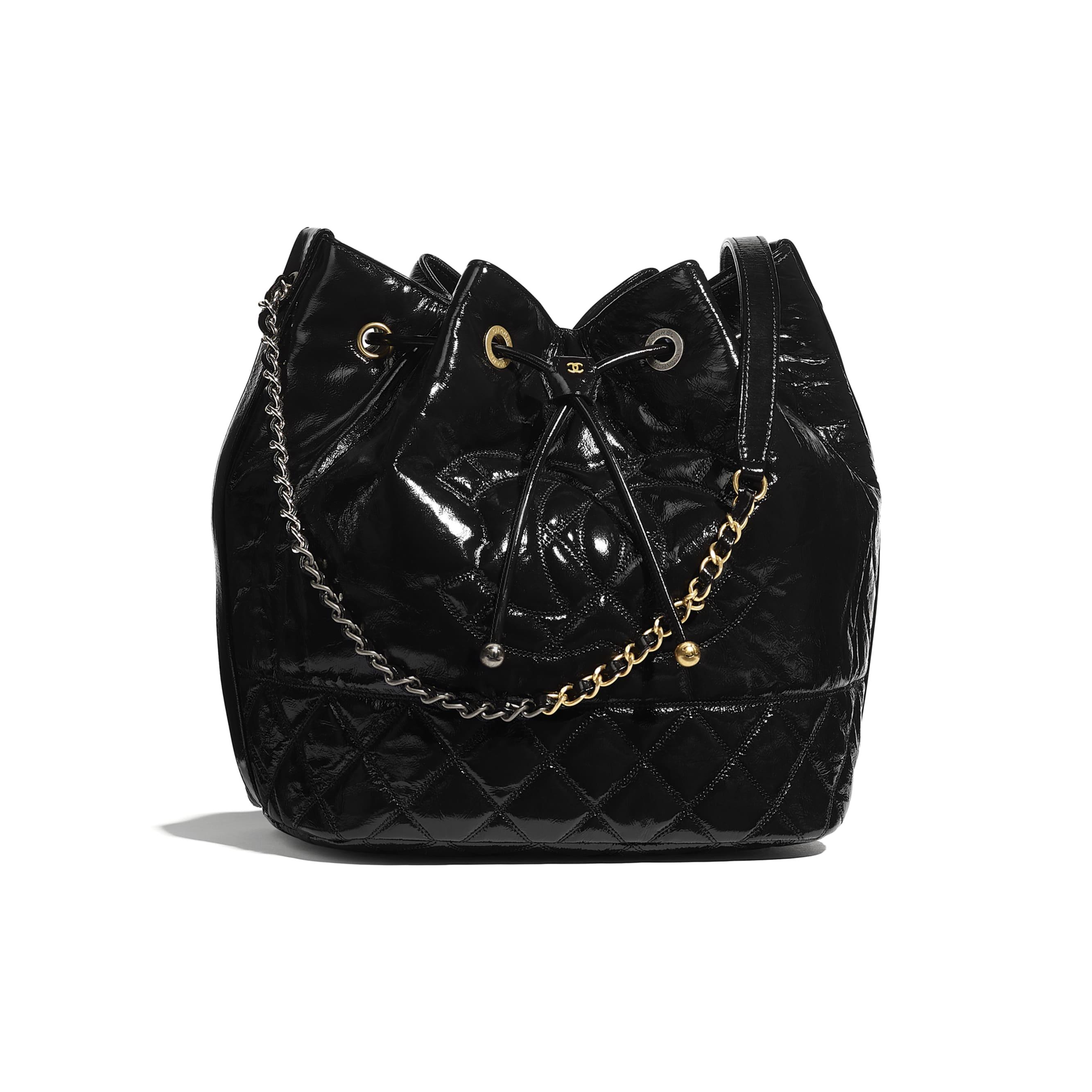 Large Drawstring Bag - Black - Shiny Aged Calfskin, Gold-Tone, Silver-Tone & Ruthenium-Finish Metal - CHANEL - Default view - see standard sized version