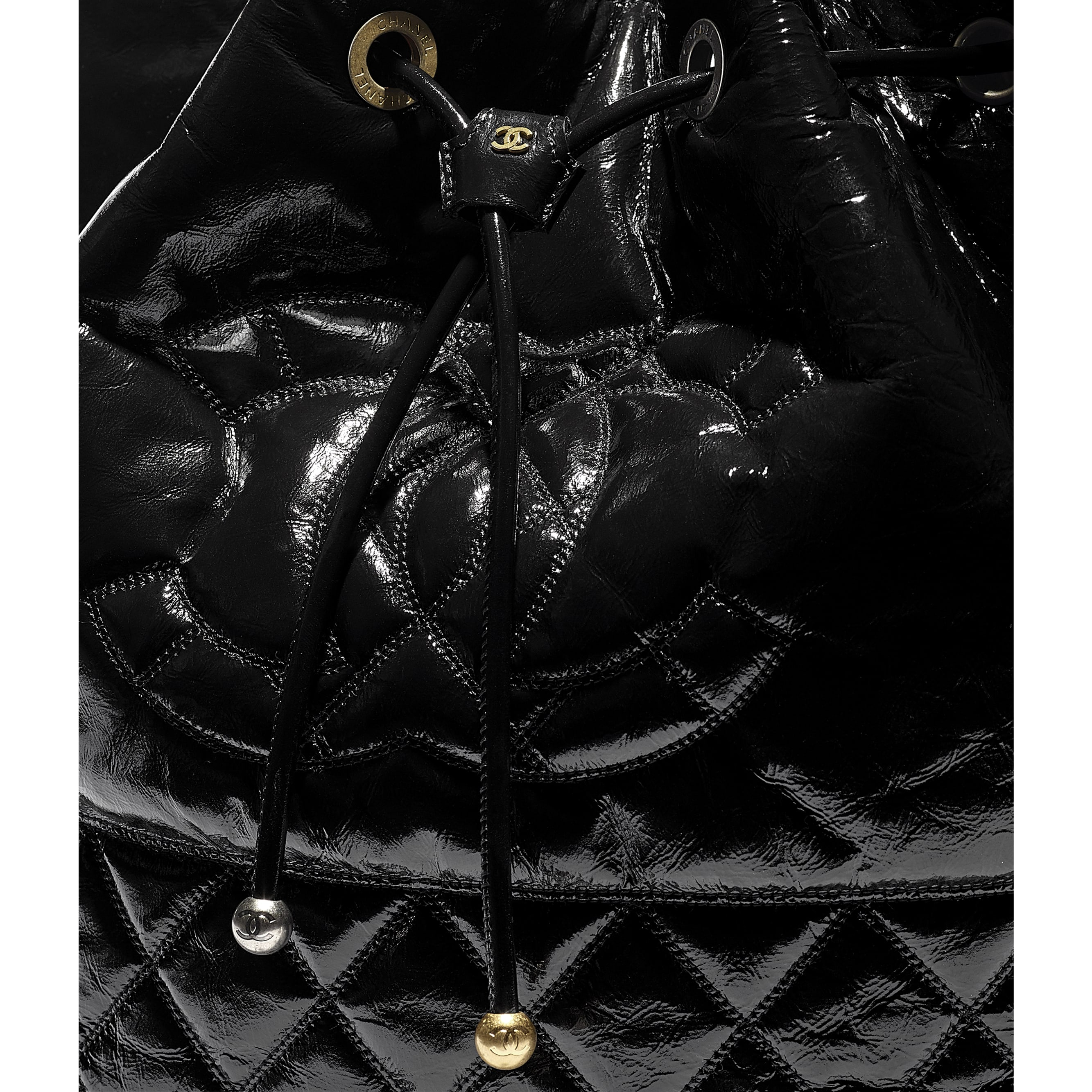 Large Drawstring Bag - Black - Shiny Aged Calfskin, Gold-Tone, Silver-Tone & Ruthenium-Finish Metal - CHANEL - Extra view - see standard sized version