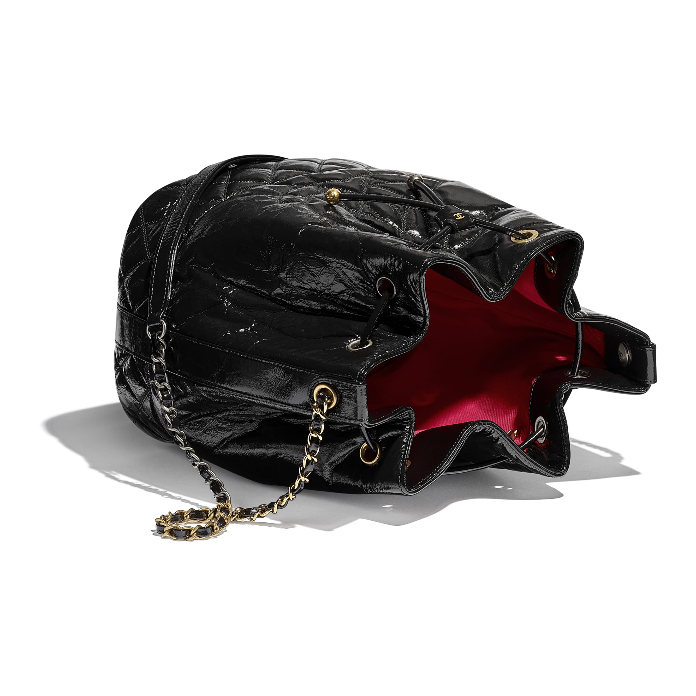 Large Drawstring Bag - Black - Shiny Aged Calfskin, Gold-Tone, Silver-Tone & Ruthenium-Finish Metal - CHANEL - Other view - see standard sized version