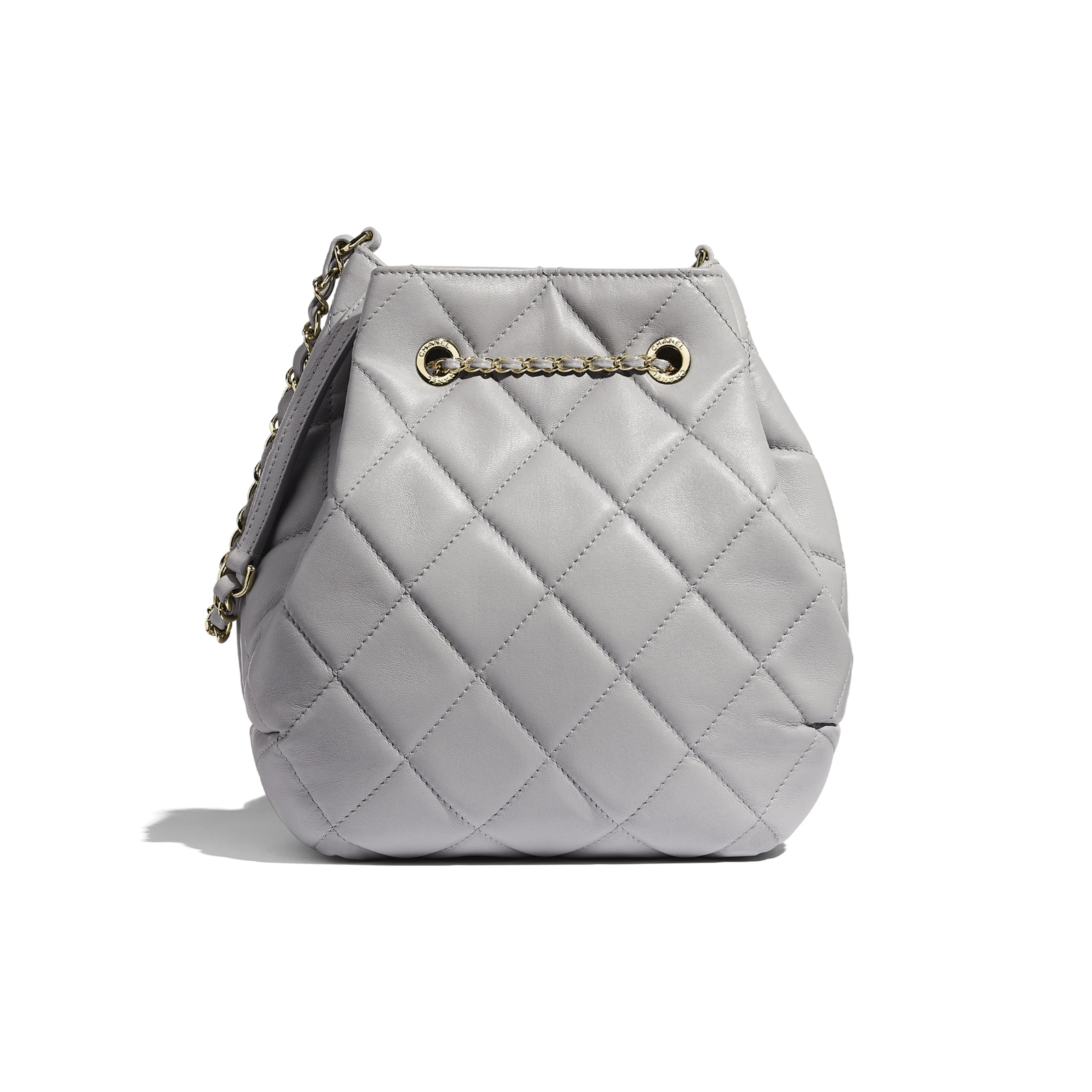 Large Drawstring Bag - Light Grey - Lambskin - CHANEL - Alternative view - see standard sized version