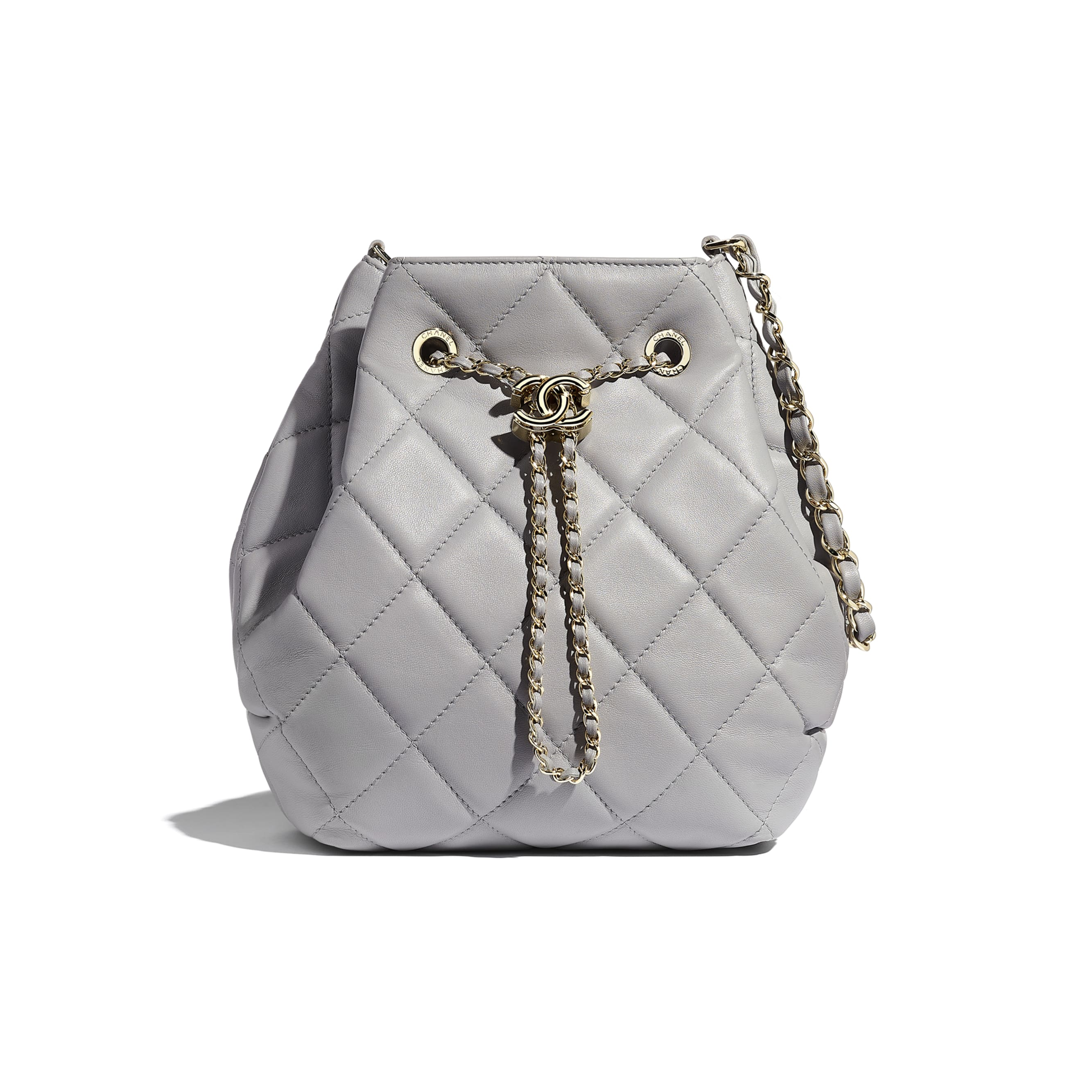 Large Drawstring Bag - Light Grey - Lambskin - Default view - see standard sized version