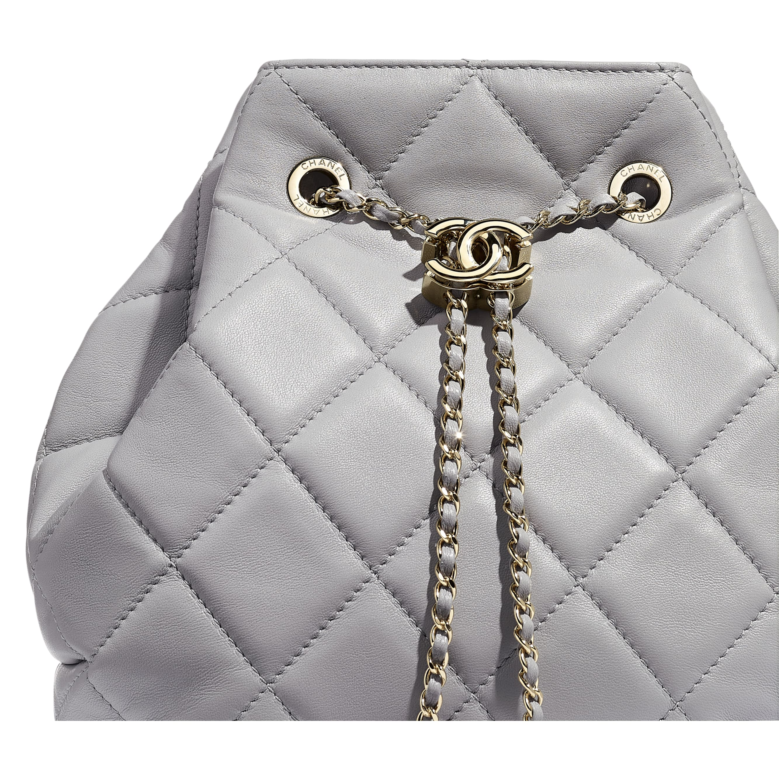 Large Drawstring Bag - Light Grey - Lambskin - CHANEL - Extra view - see standard sized version