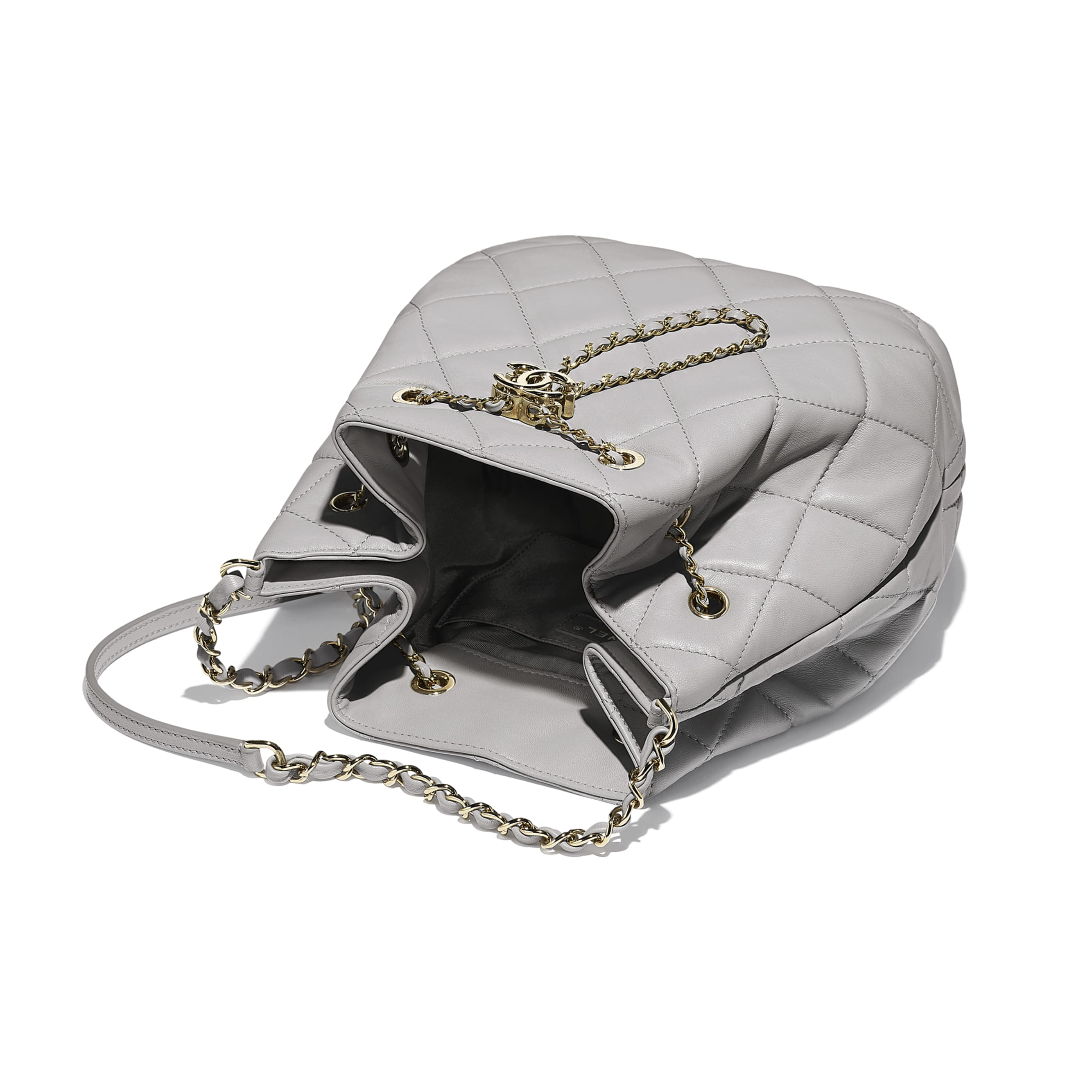 Large Drawstring Bag - Light Grey - Lambskin - CHANEL - Other view - see standard sized version