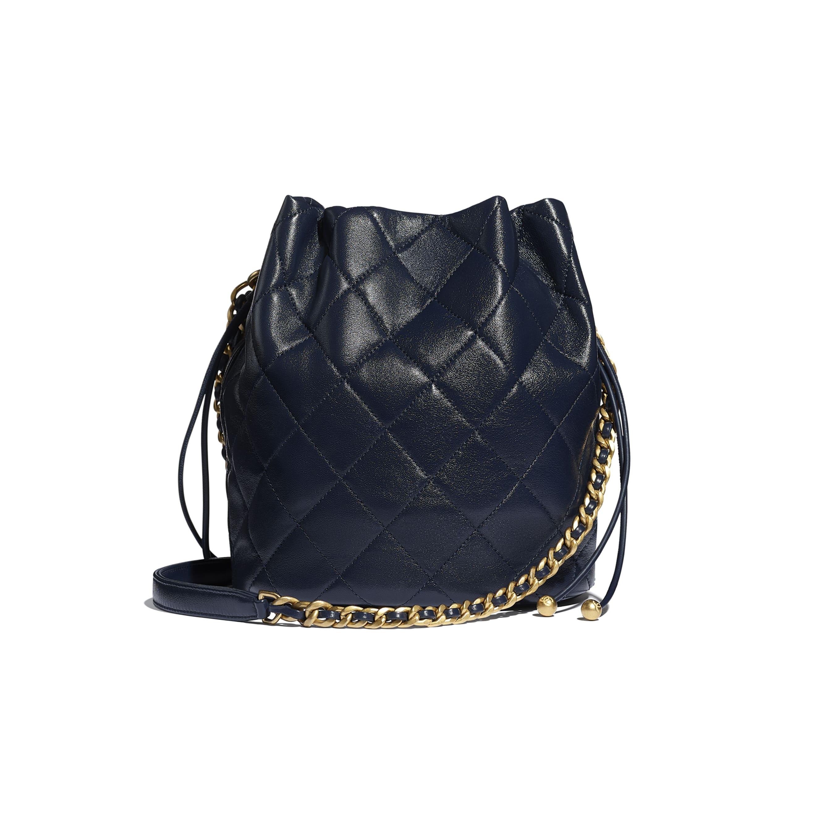 Large Drawstring Bag - Navy Blue - Shiny Lambskin & Gold-Tone Metal - CHANEL - Alternative view - see standard sized version