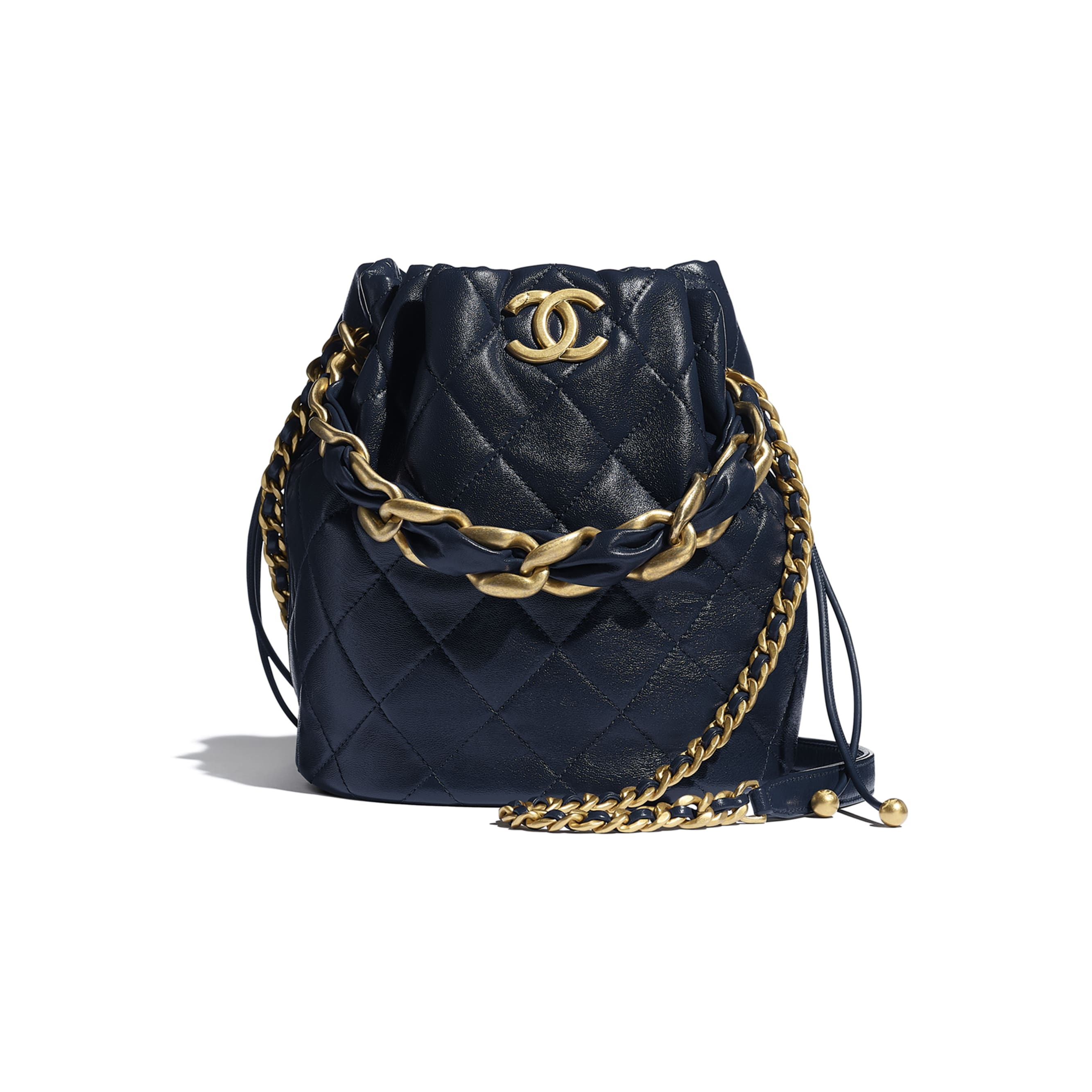 Large Drawstring Bag - Navy Blue - Shiny Lambskin & Gold-Tone Metal - CHANEL - Default view - see standard sized version
