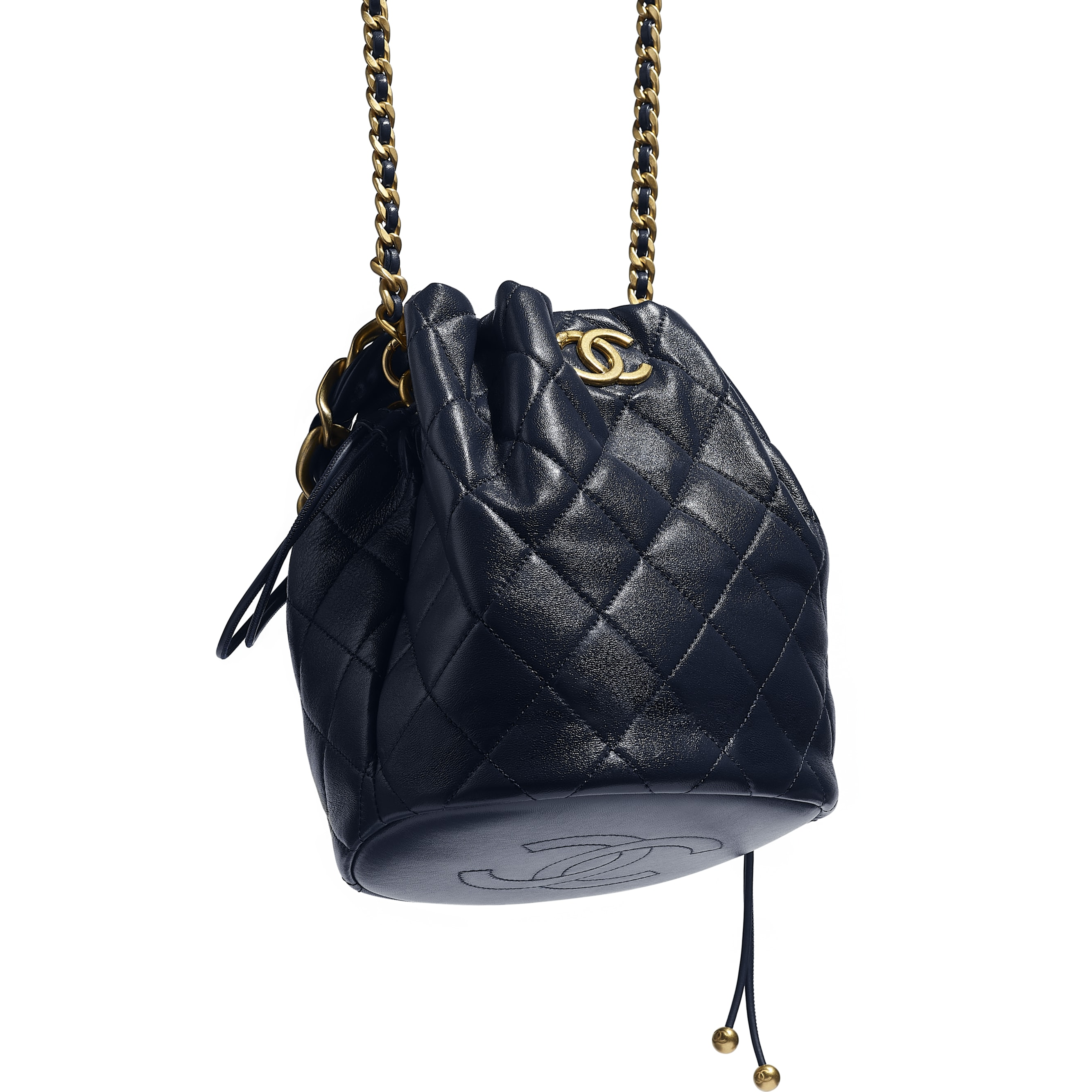 Large Drawstring Bag - Navy Blue - Shiny Lambskin & Gold-Tone Metal - CHANEL - Extra view - see standard sized version