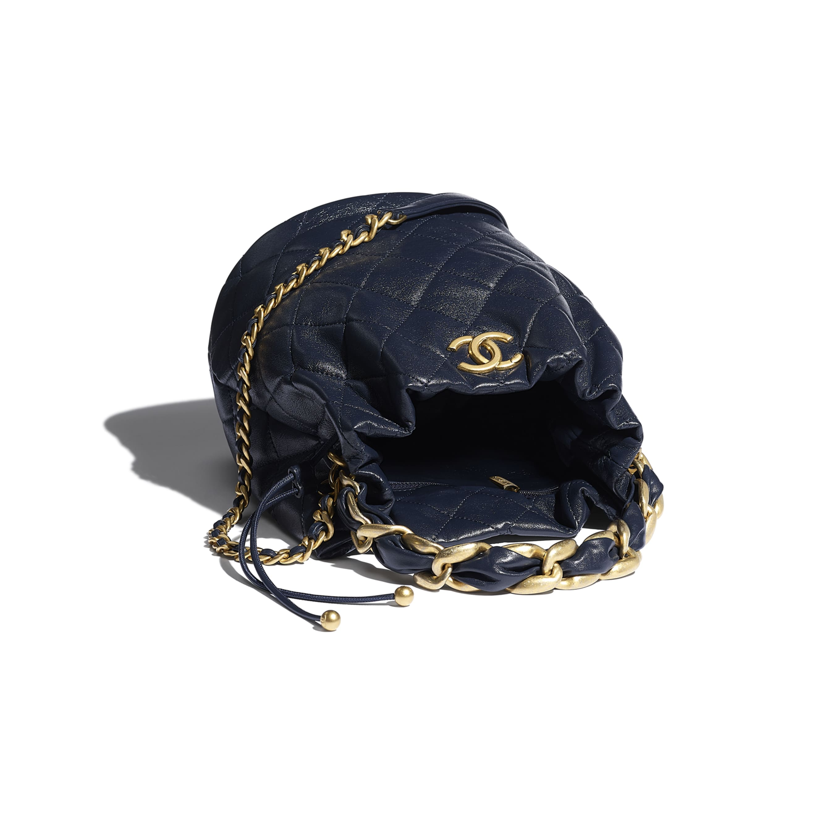 Large Drawstring Bag - Navy Blue - Shiny Lambskin & Gold-Tone Metal - CHANEL - Other view - see standard sized version
