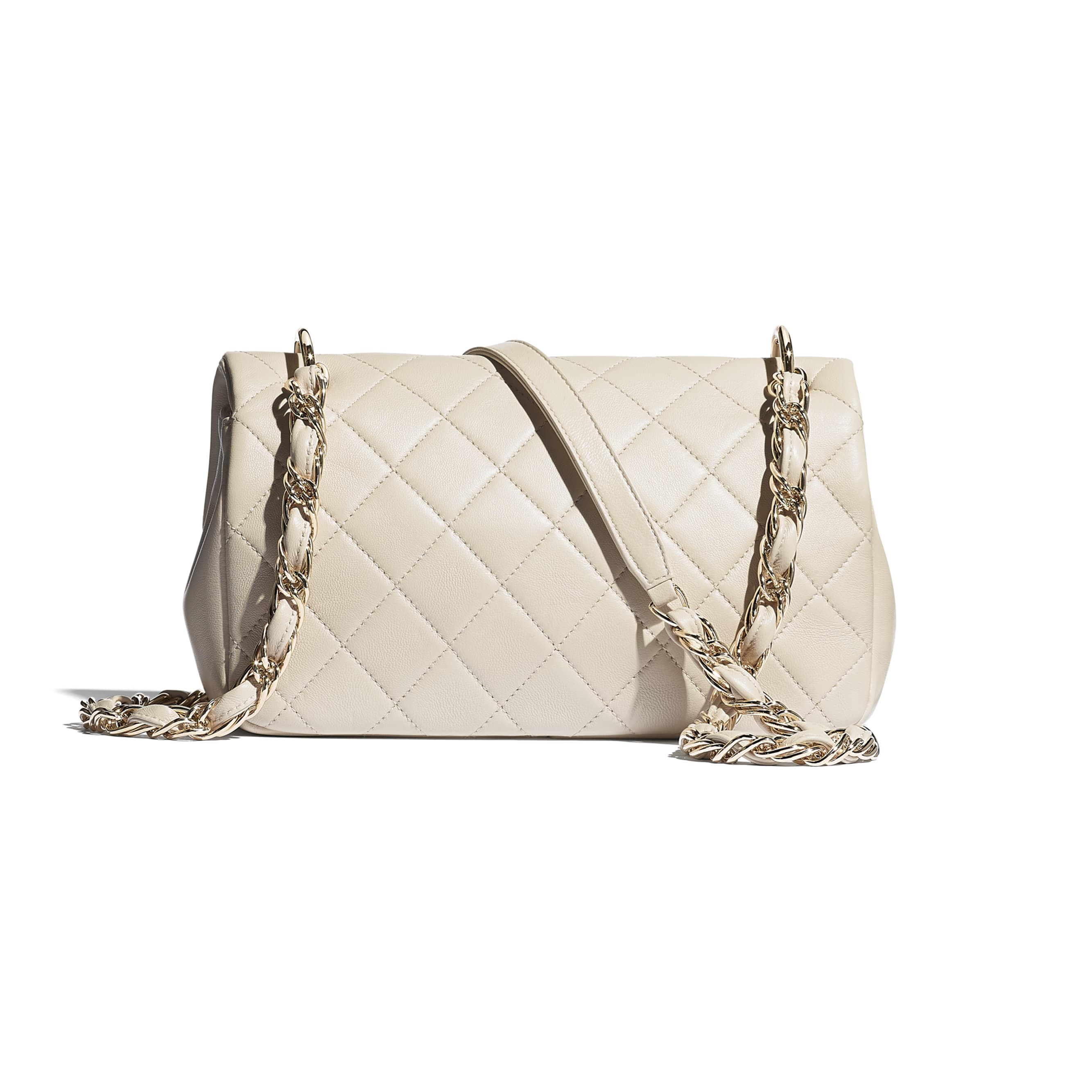 Large Flap Bag - Beige - Lambskin - CHANEL - Alternative view - see standard sized version