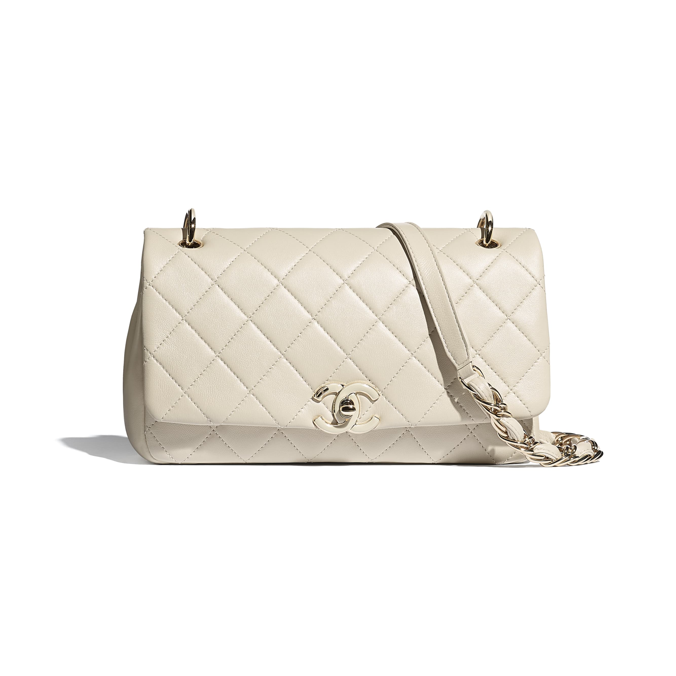Large Flap Bag - Beige - Lambskin - CHANEL - Default view - see standard sized version