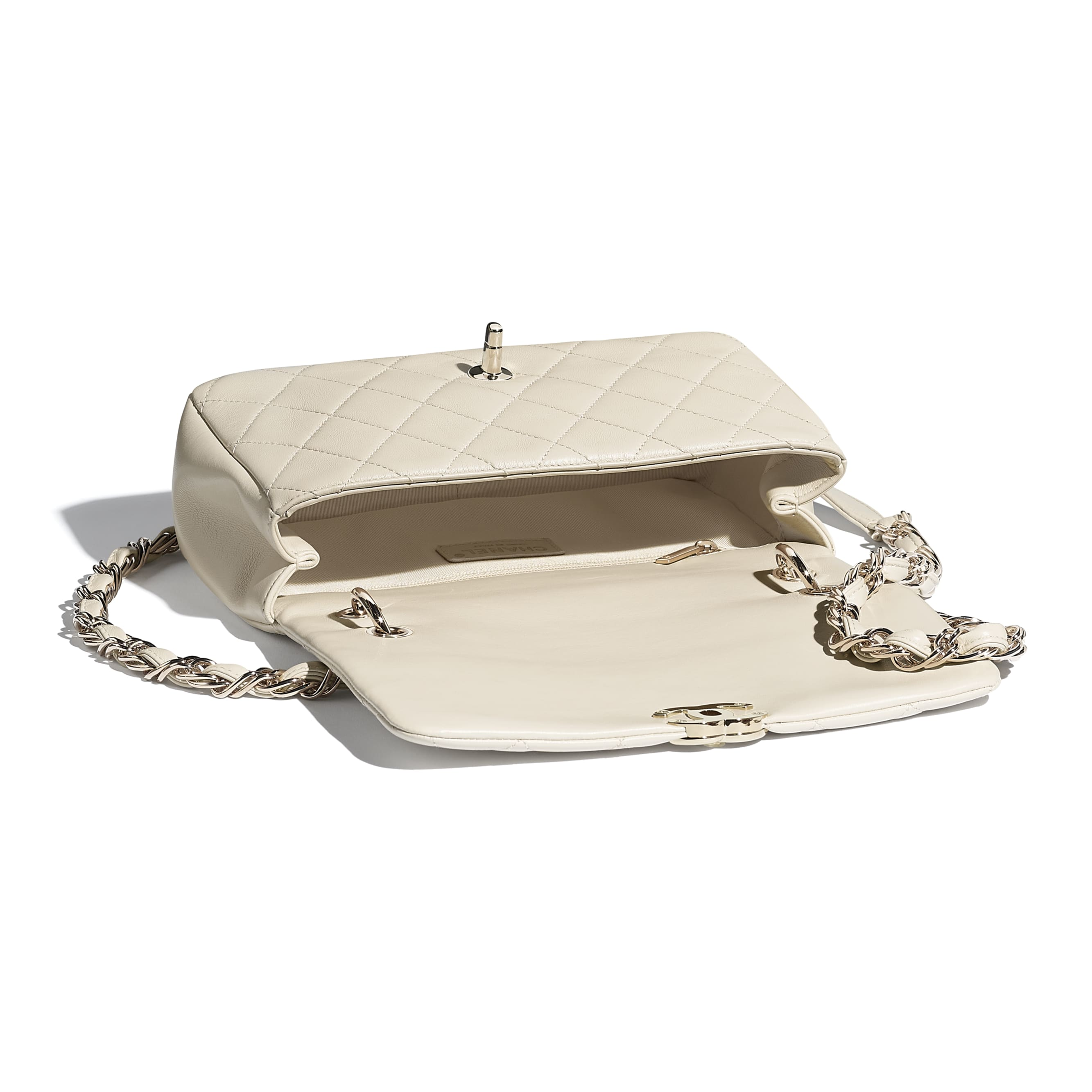 Large Flap Bag - Beige - Lambskin - CHANEL - Other view - see standard sized version