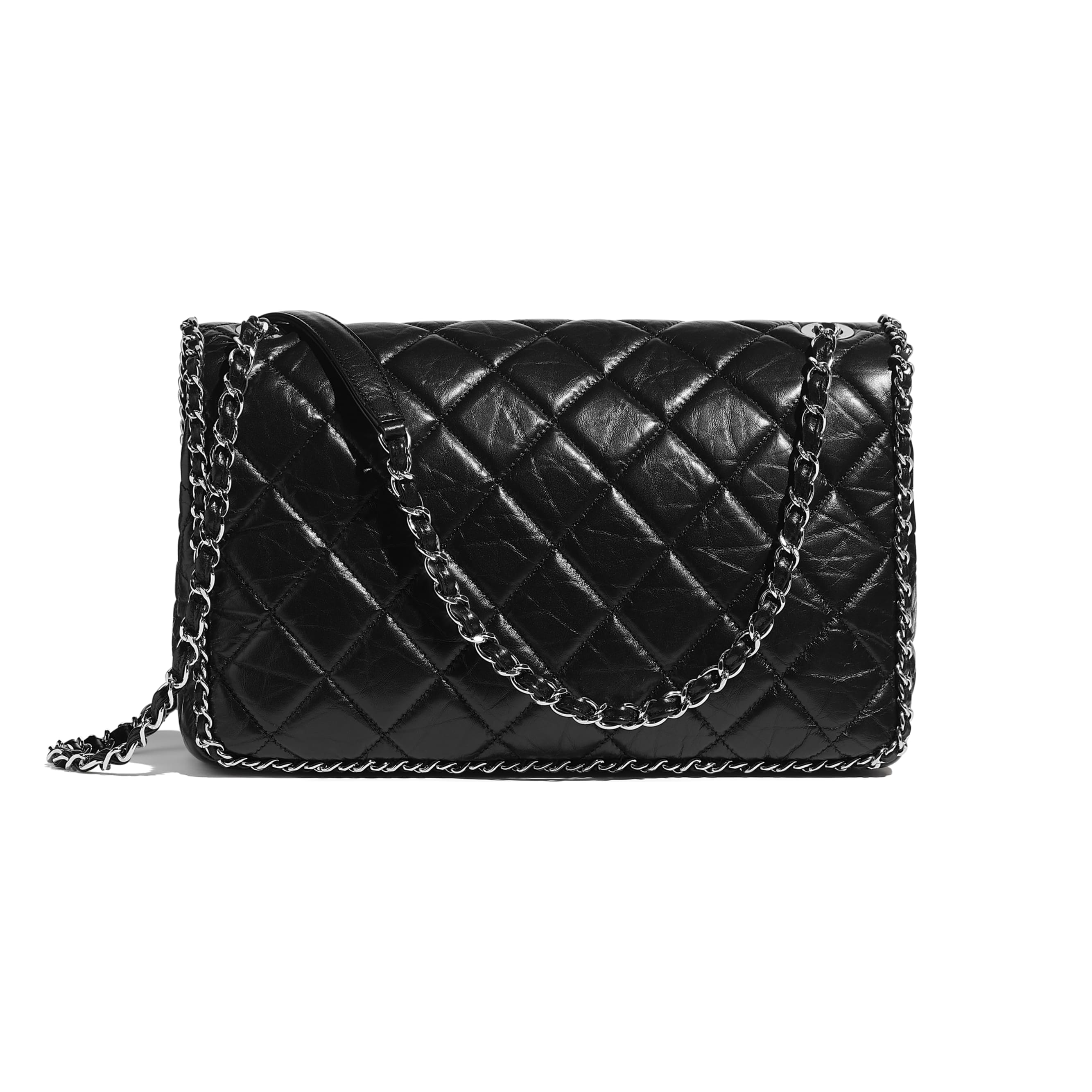 Large Flap Bag - Black - Aged Calfskin & Silver-Tone Metal - CHANEL - Alternative view - see standard sized version