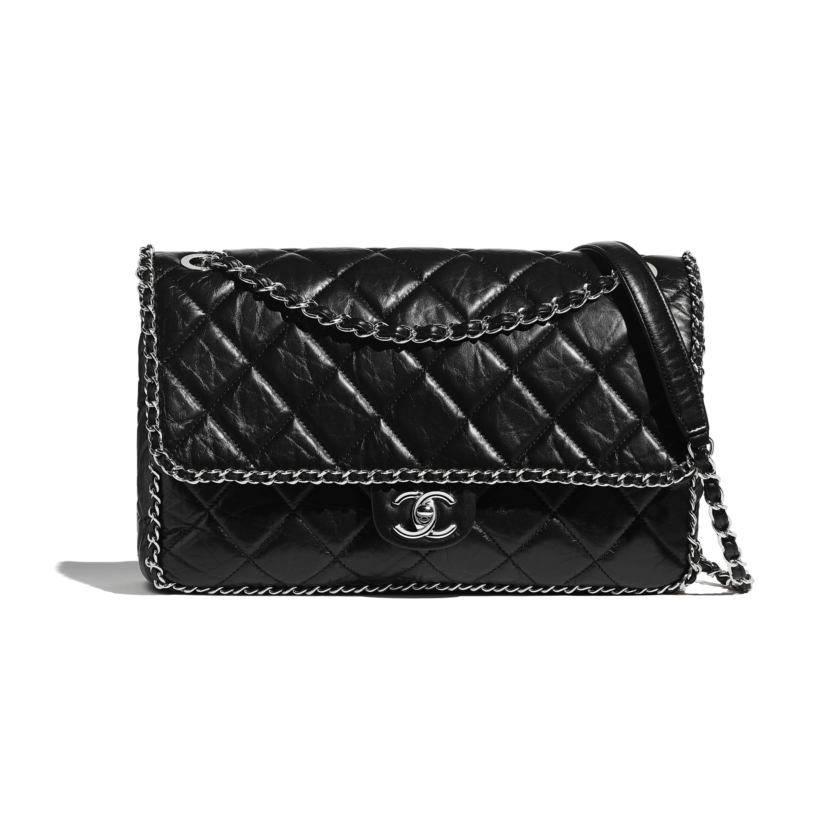 Large Flap Bag - Black - Aged Calfskin & Silver-Tone Metal - CHANEL - Default view - see standard sized version