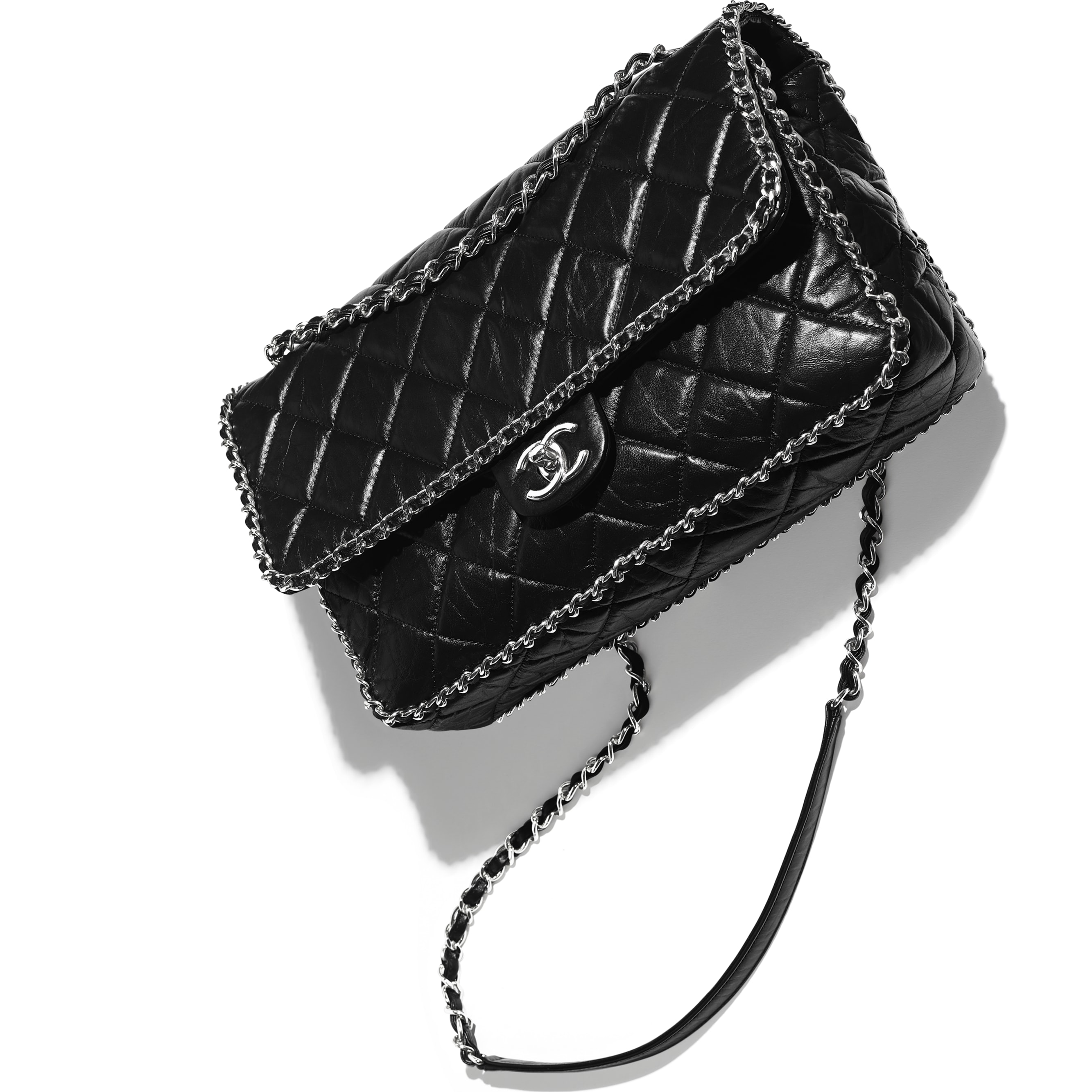 Large Flap Bag - Black - Aged Calfskin & Silver-Tone Metal - CHANEL - Extra view - see standard sized version