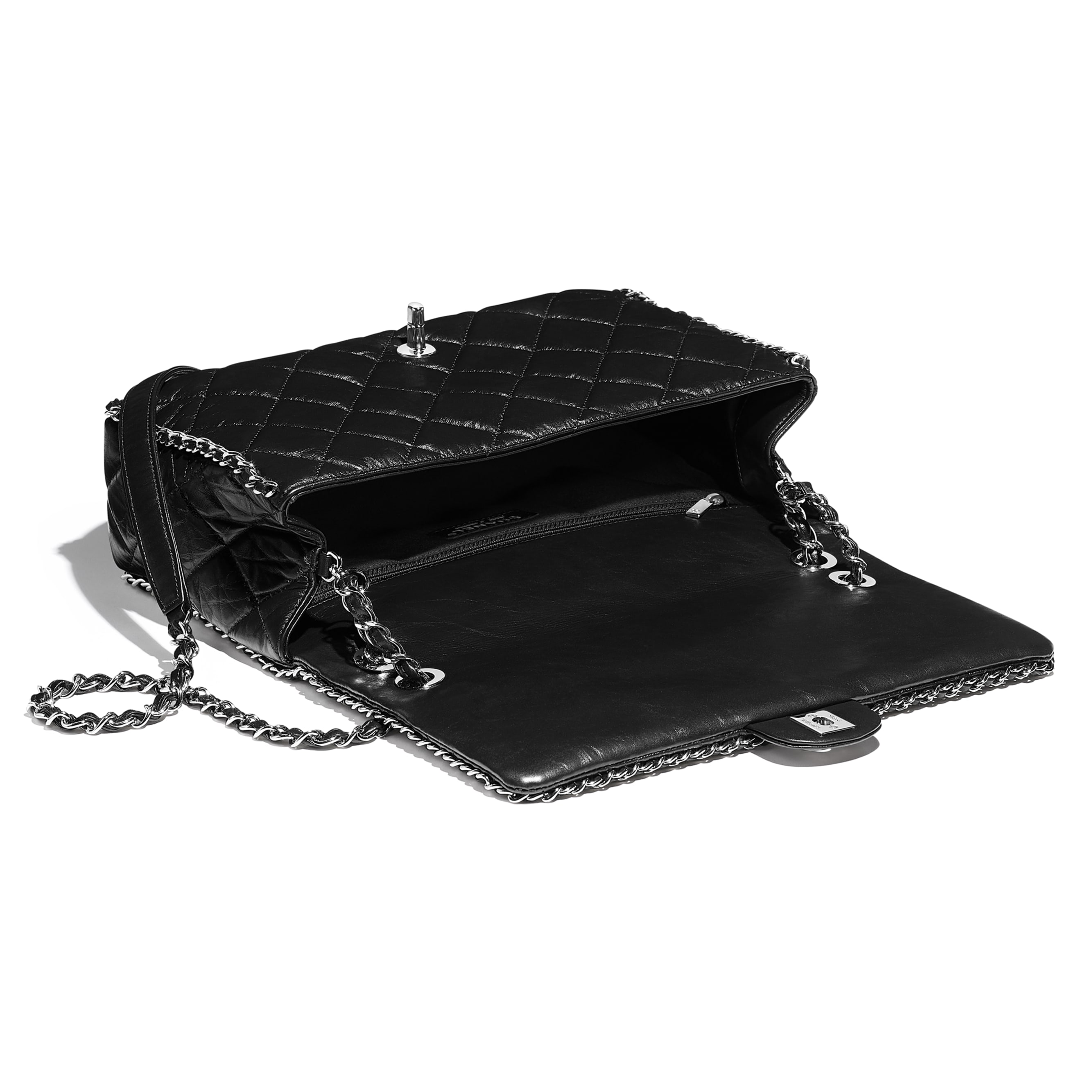 Large Flap Bag - Black - Aged Calfskin & Silver-Tone Metal - CHANEL - Other view - see standard sized version