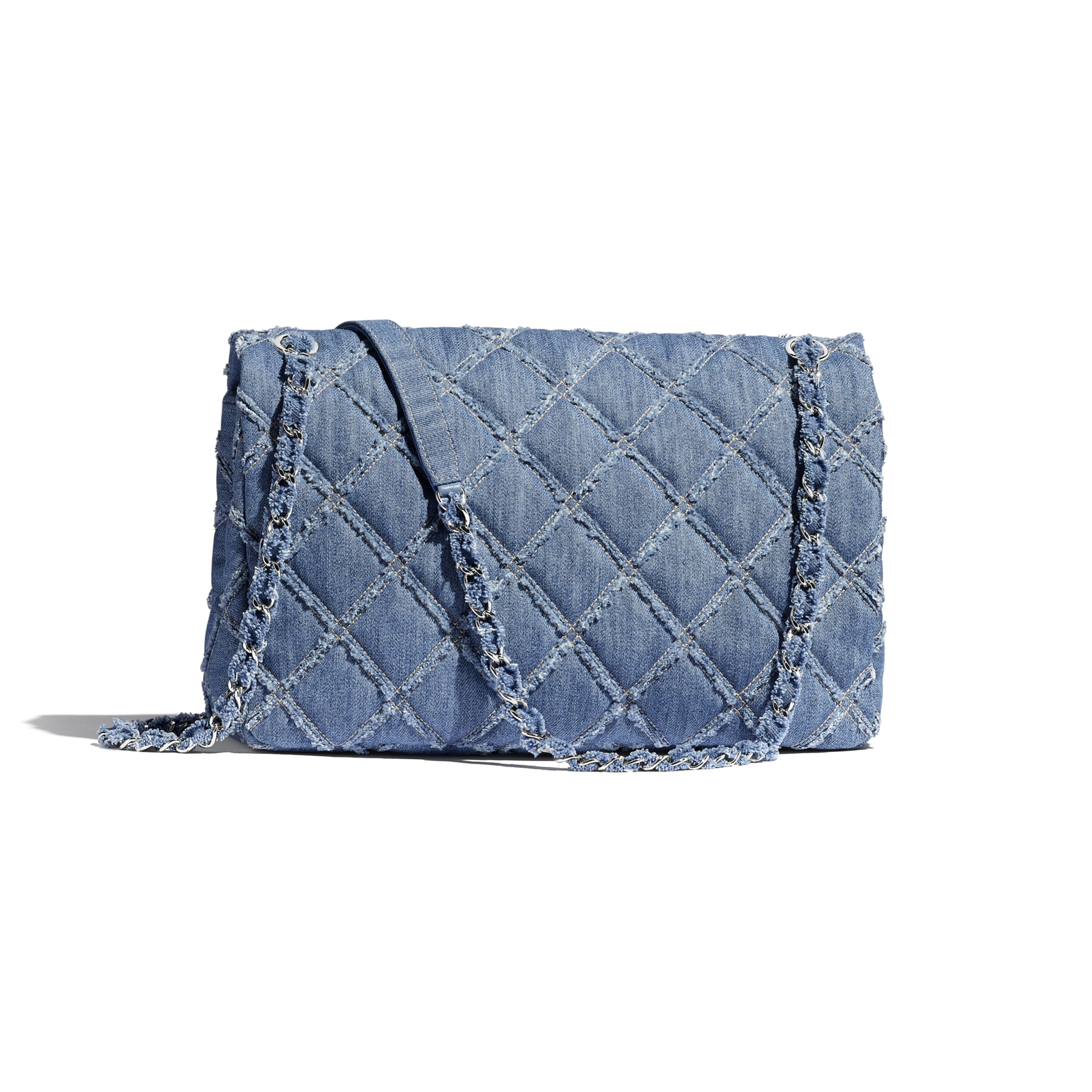 Large Flap Bag - Blue - Denim & Silver-Tone Metal - Alternative view - see standard sized version