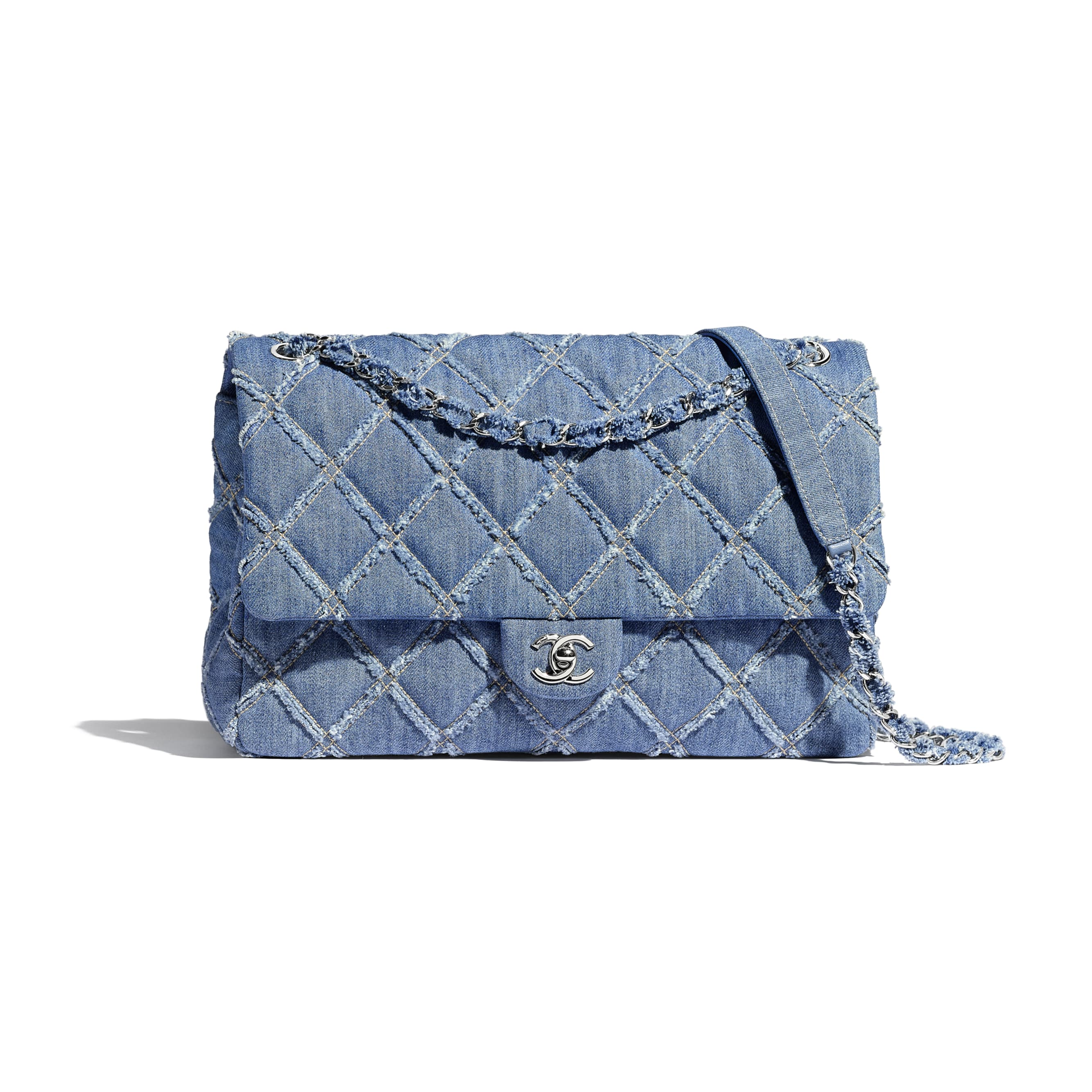 Large Flap Bag - Blue - Denim & Silver-Tone Metal - Default view - see standard sized version