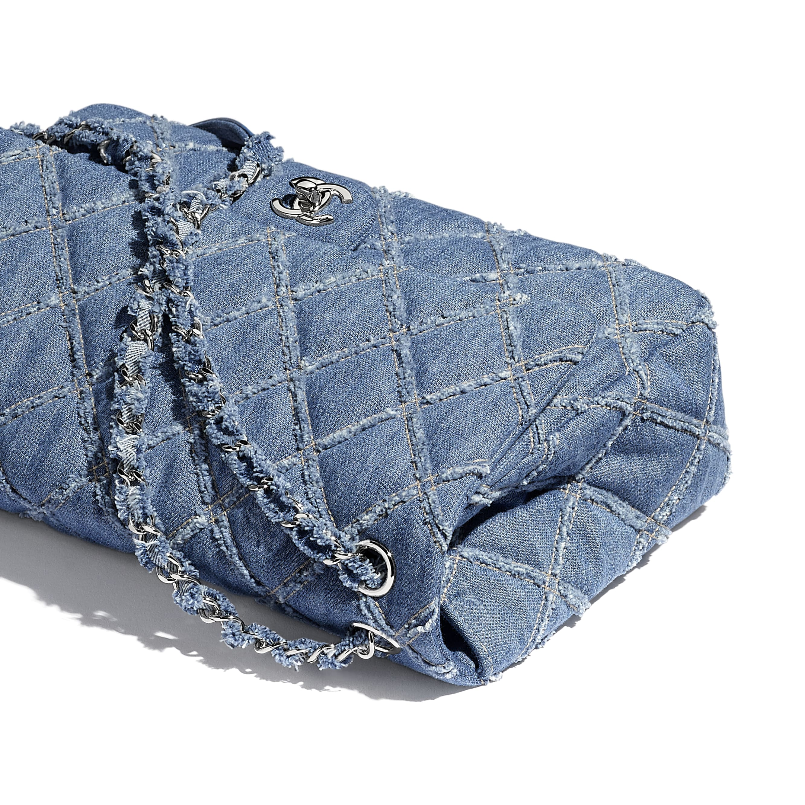 Large Flap Bag - Blue - Denim & Silver-Tone Metal - Extra view - see standard sized version