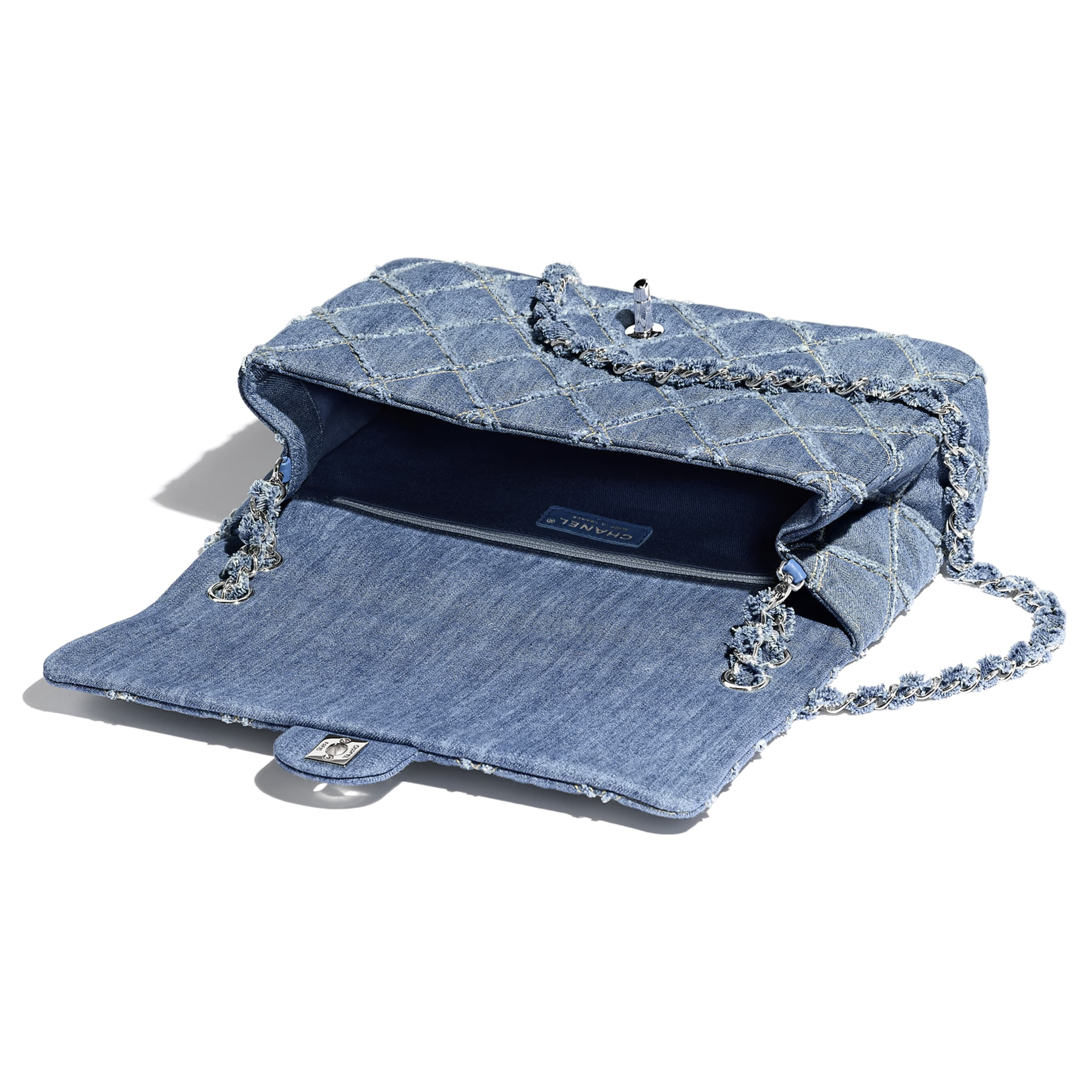 Large Flap Bag - Blue - Denim & Silver-Tone Metal - Other view - see standard sized version