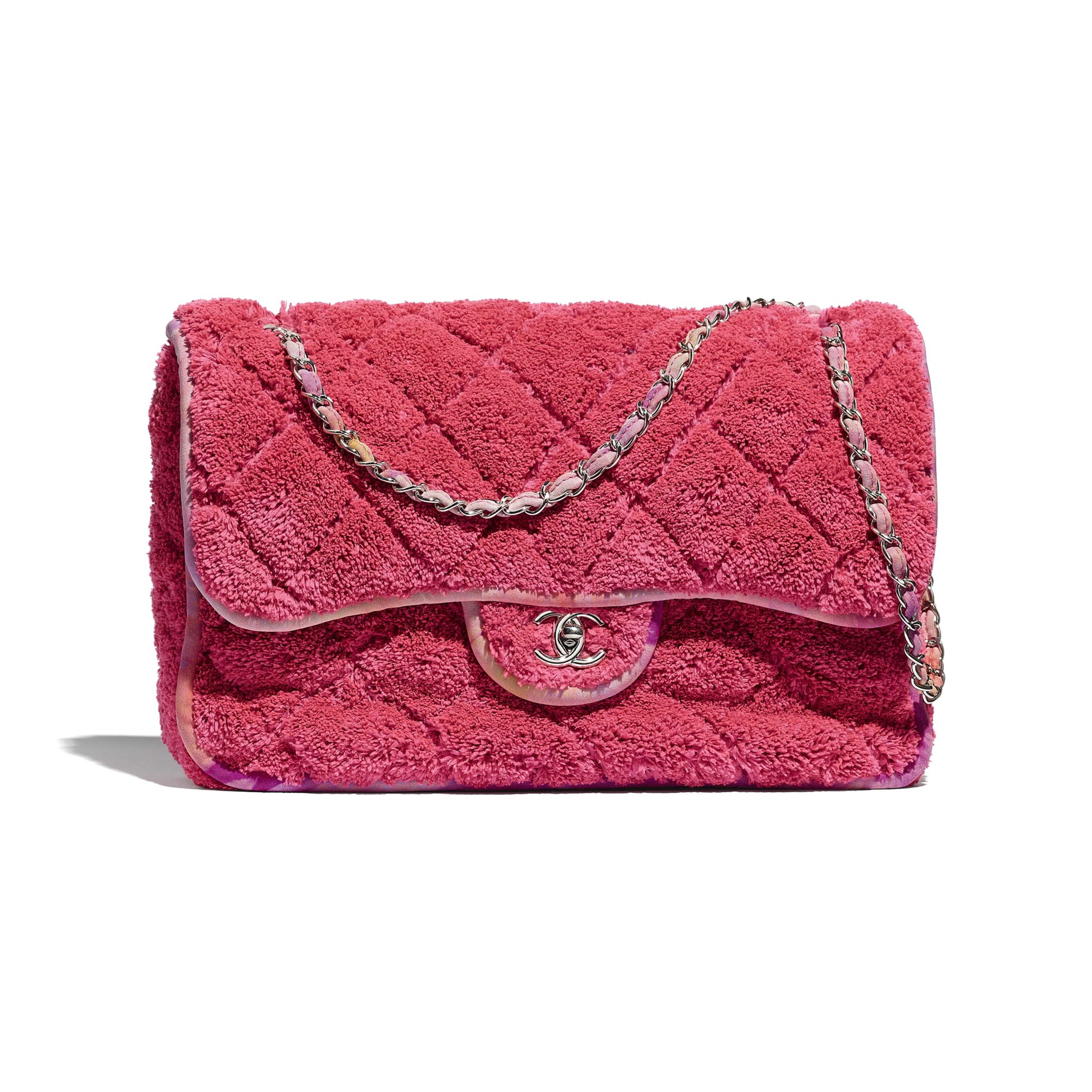 Large Flap Bag - Coral - Mixed Fibers & Silver-Tone Metal - CHANEL - Default view - see standard sized version
