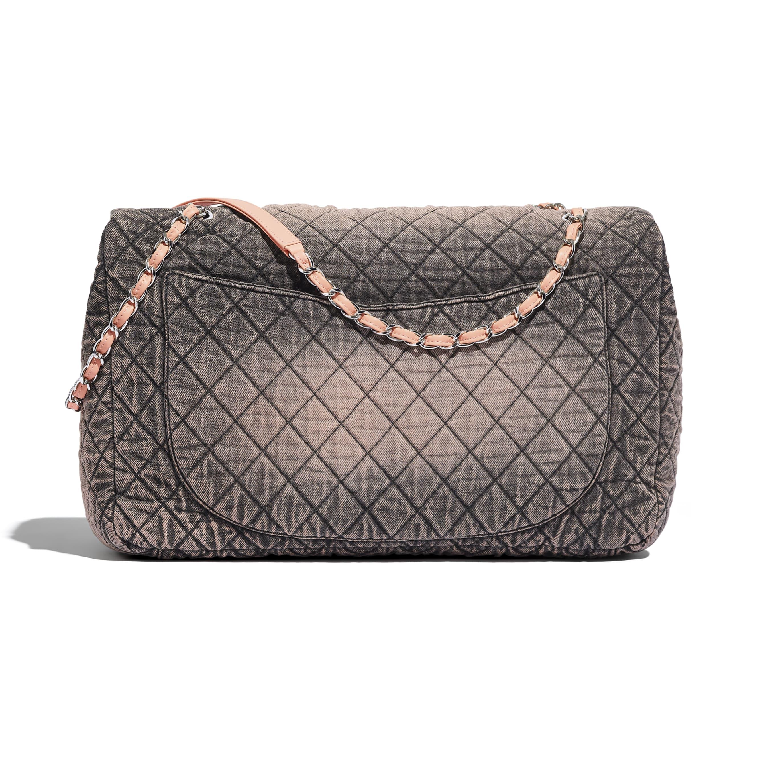 Large Flap Bag - Light Pink & Black - Denim & Silver-Tone Metal - Alternative view - see standard sized version