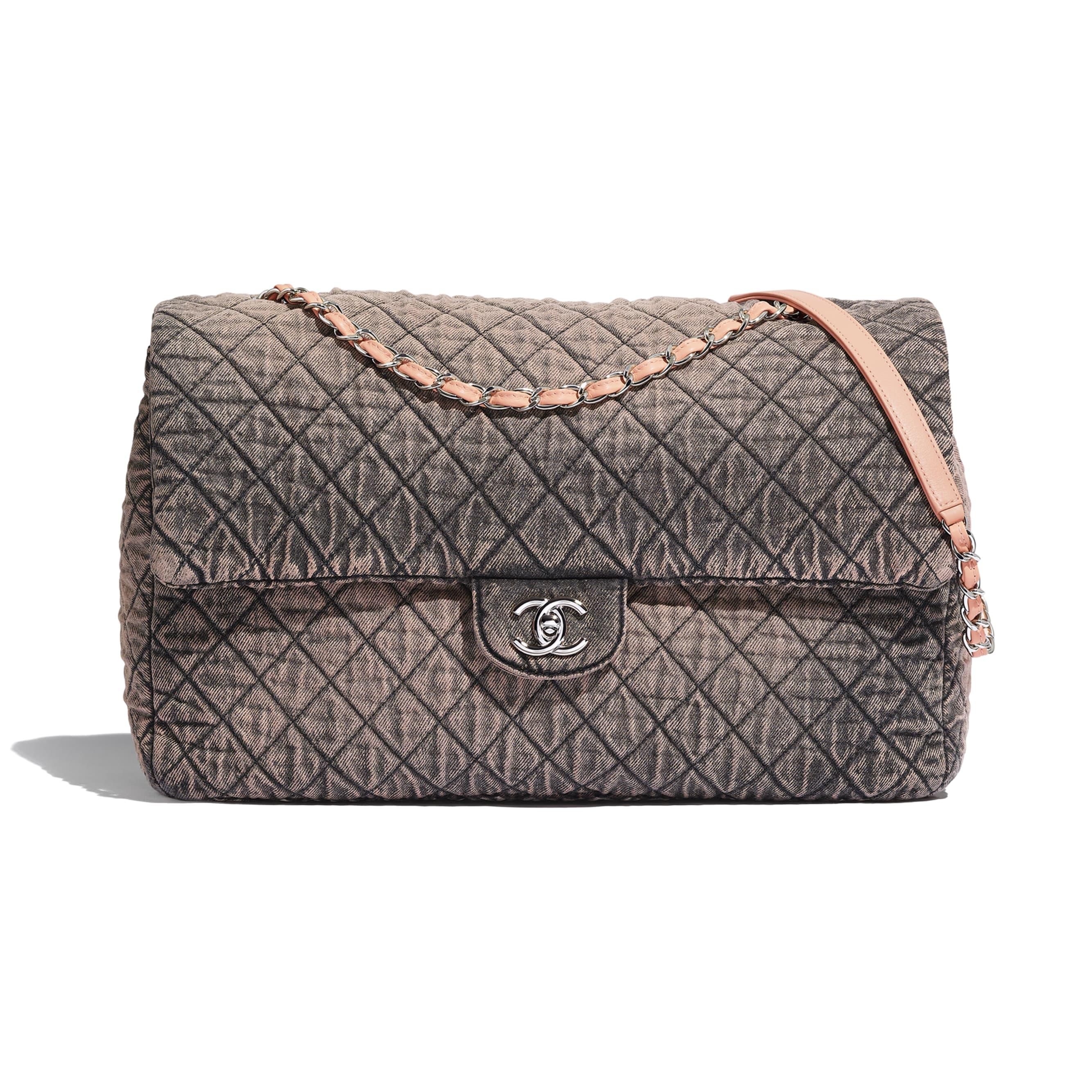 Large Flap Bag - Light Pink & Black - Denim & Silver-Tone Metal - Default view - see standard sized version