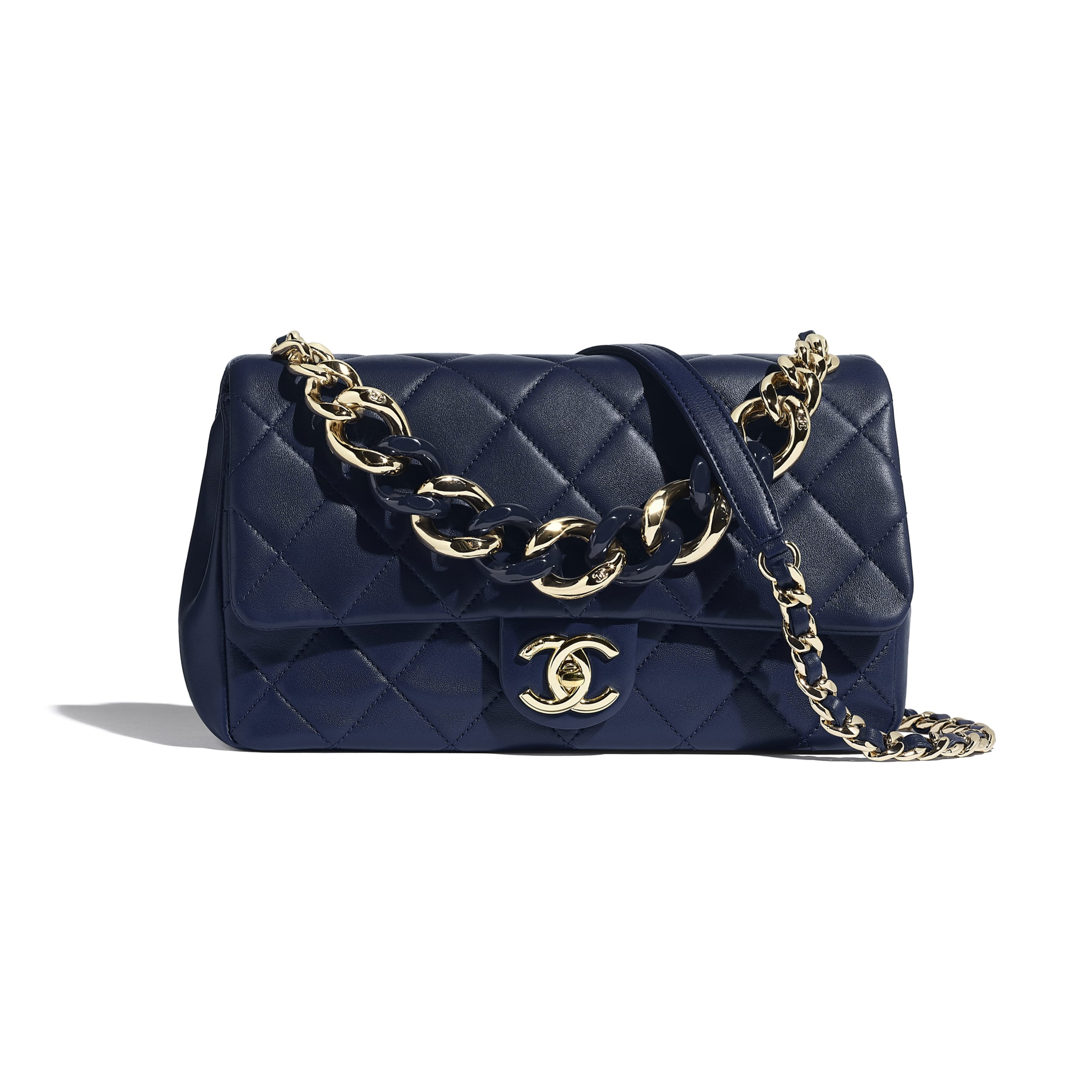 Large Flap Bag - Navy Blue - Lambskin, Resin & Gold-Tone Metal - Default view - see standard sized version