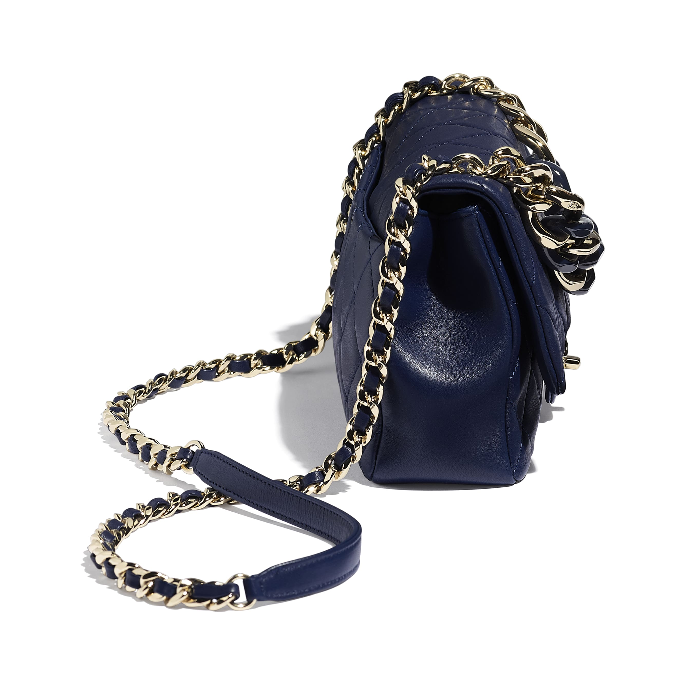 Large Flap Bag - Navy Blue - Lambskin, Resin & Gold-Tone Metal - Extra view - see standard sized version