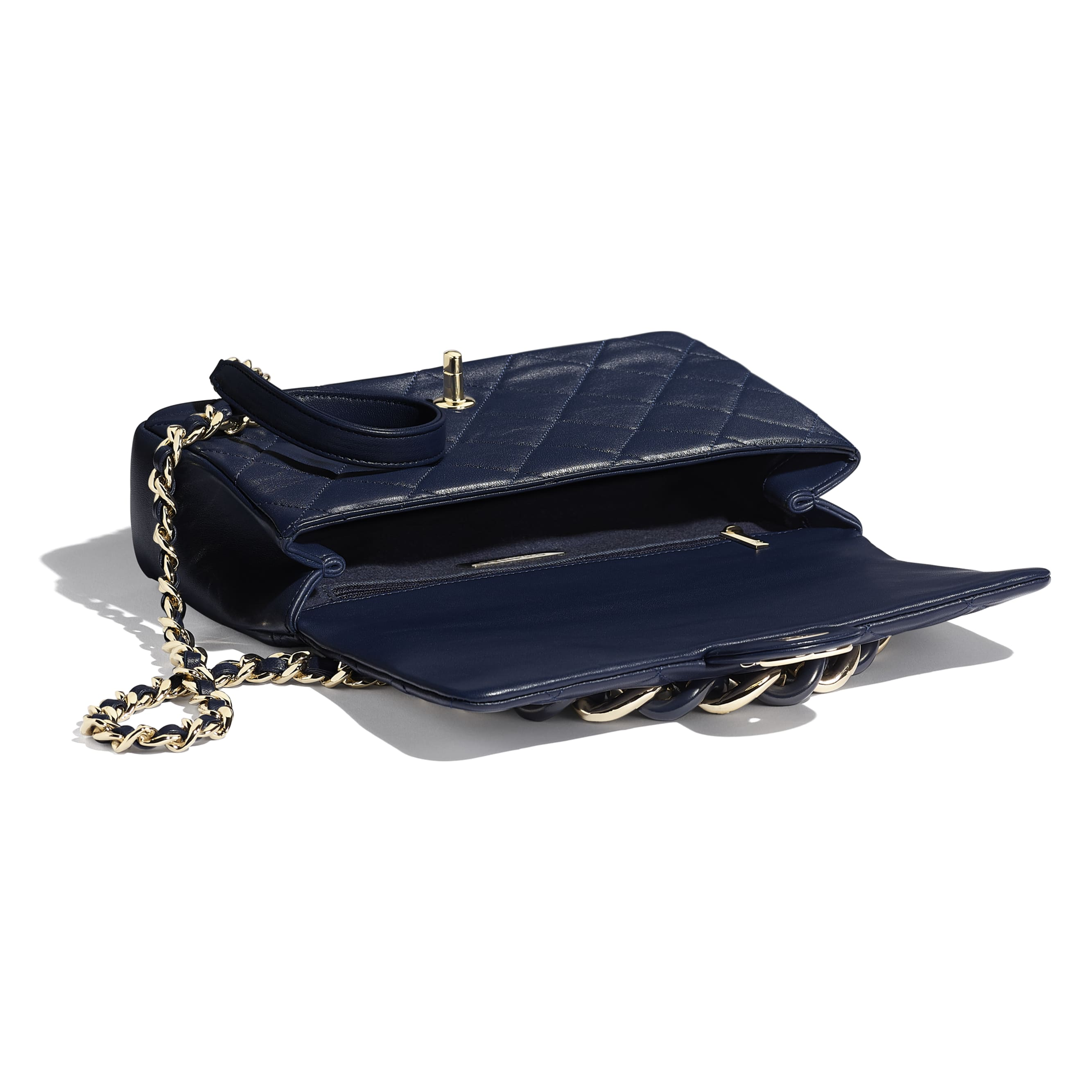 Large Flap Bag - Navy Blue - Lambskin, Resin & Gold-Tone Metal - Other view - see standard sized version